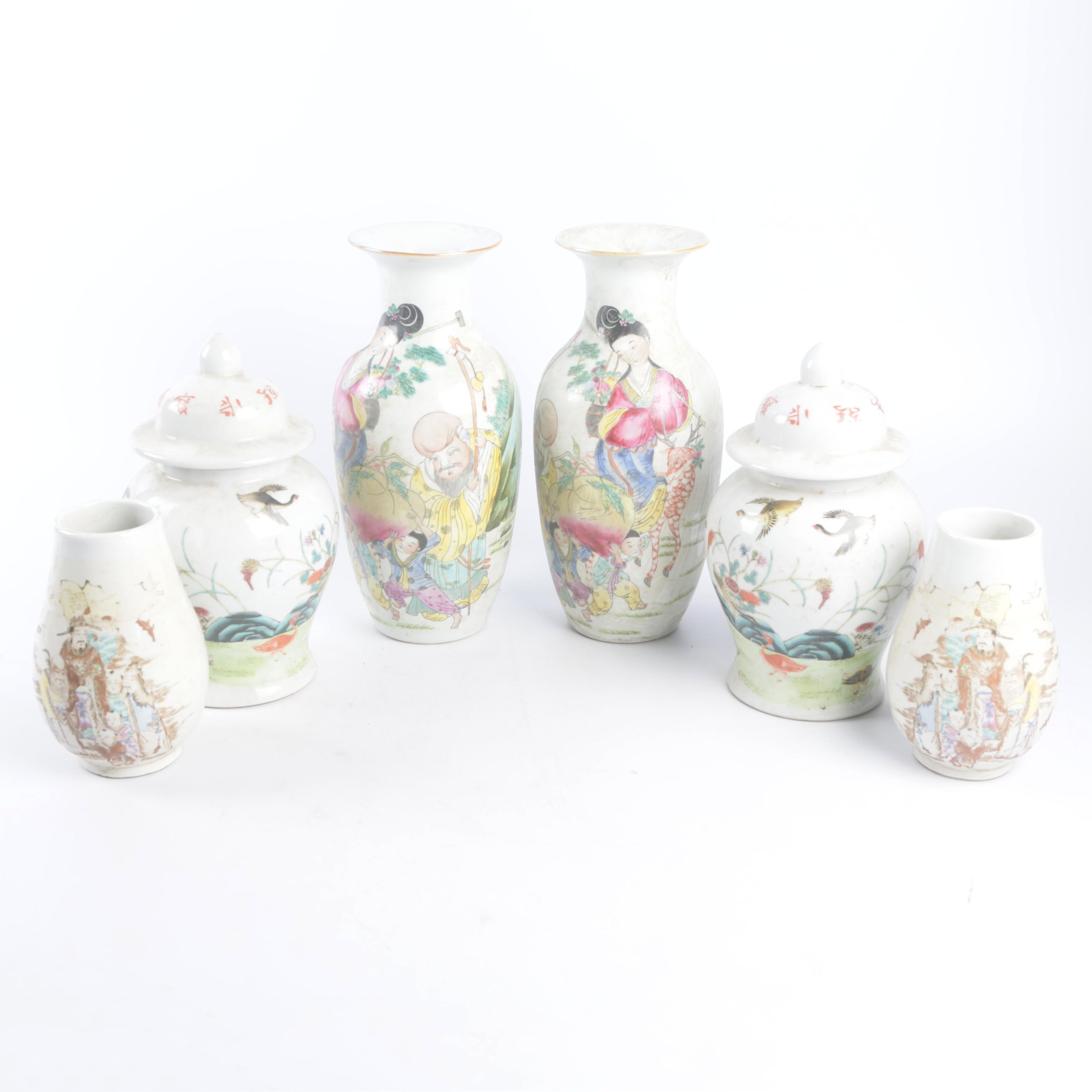Vintage Republic Period Chinese Hand-Painted Porcelain Vases