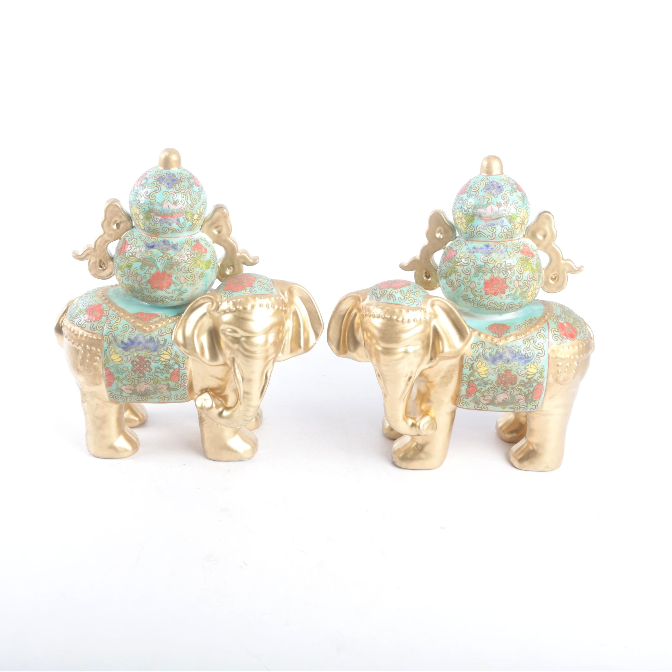 Chinese Floral Themed Porcelain Elephant Figurines with Gilt Embellishments
