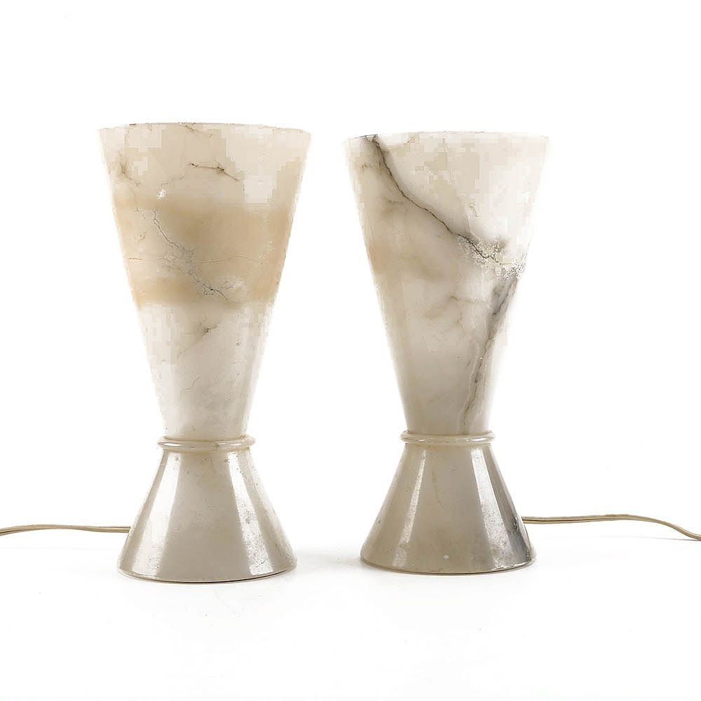 Alabaster Uplight Mantel Lamps