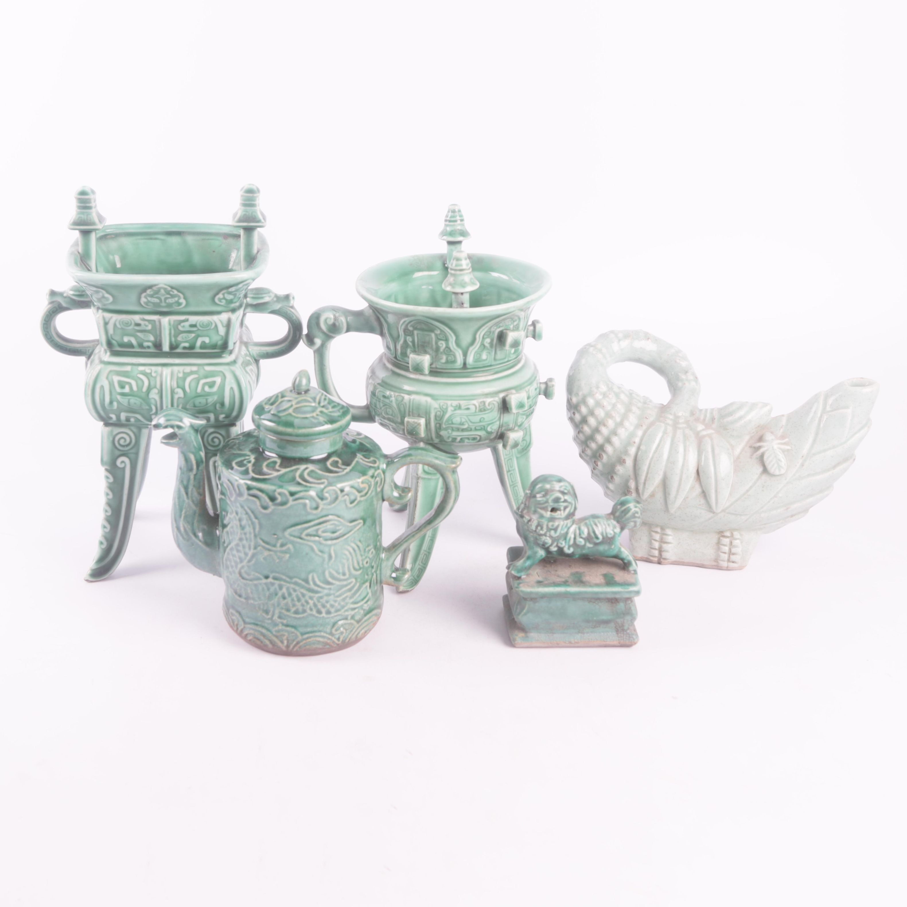 Chinese Footed Jue Cups, Teapot, and Guardian Lion Water Dropper