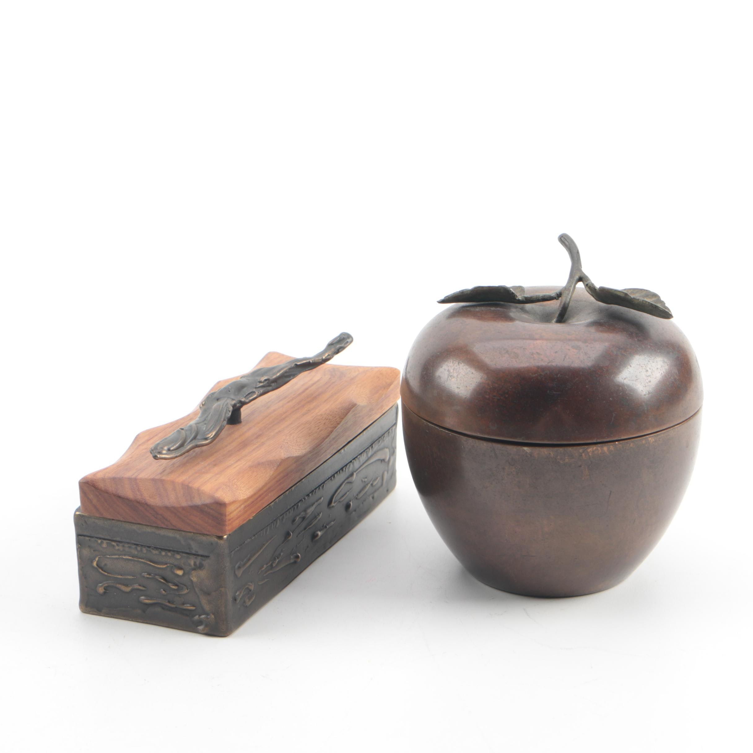 Signed Shatsby Bronze Trinket Box with Exotic Wood Lid and Copper Apple Box