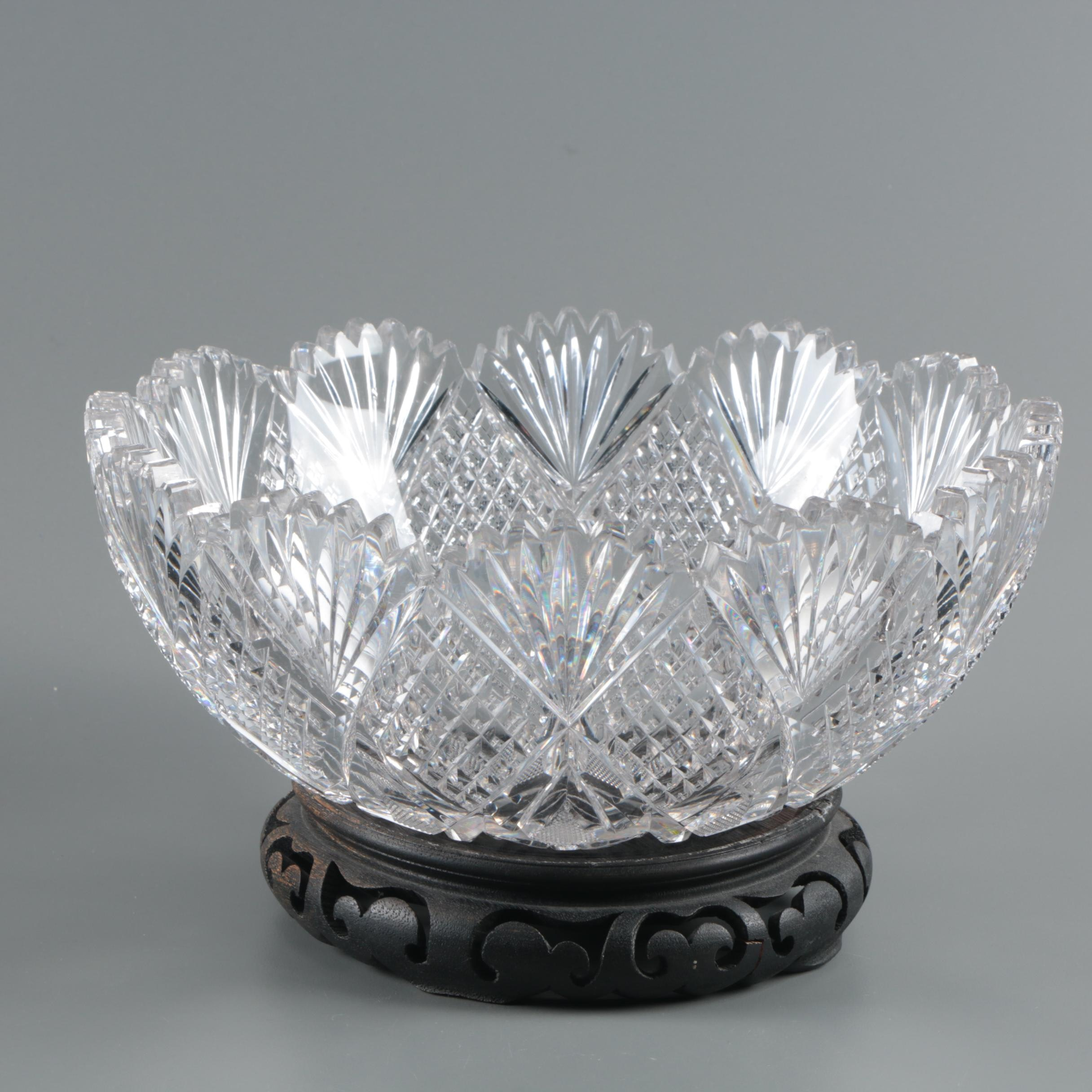 Hawkes Crystal Serving Bowl and Carved Wooden Stand