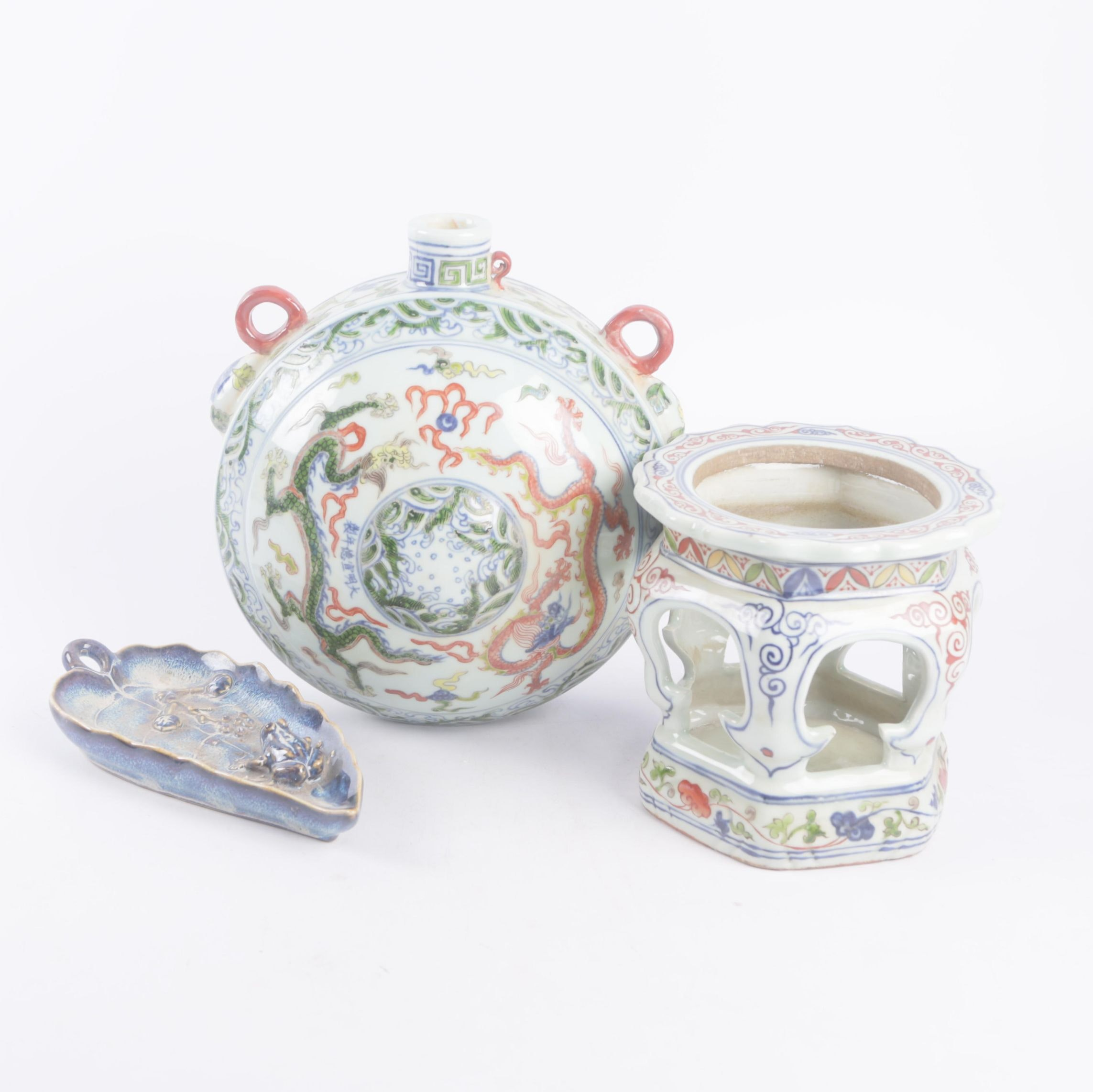 Chinese Hand-Built Ceramic Trinket Tray with Flask Shape Vase and Lantern