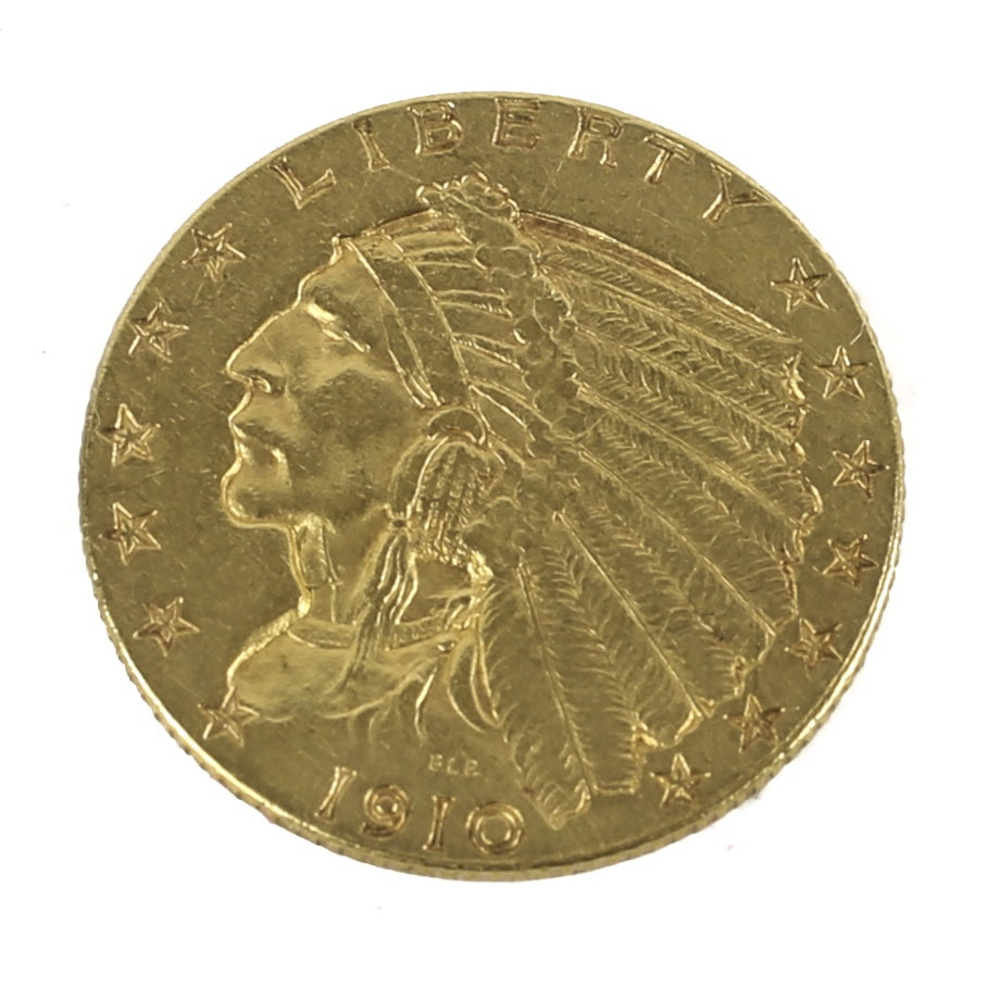 1910 Indian Head $2.50 Gold Coin