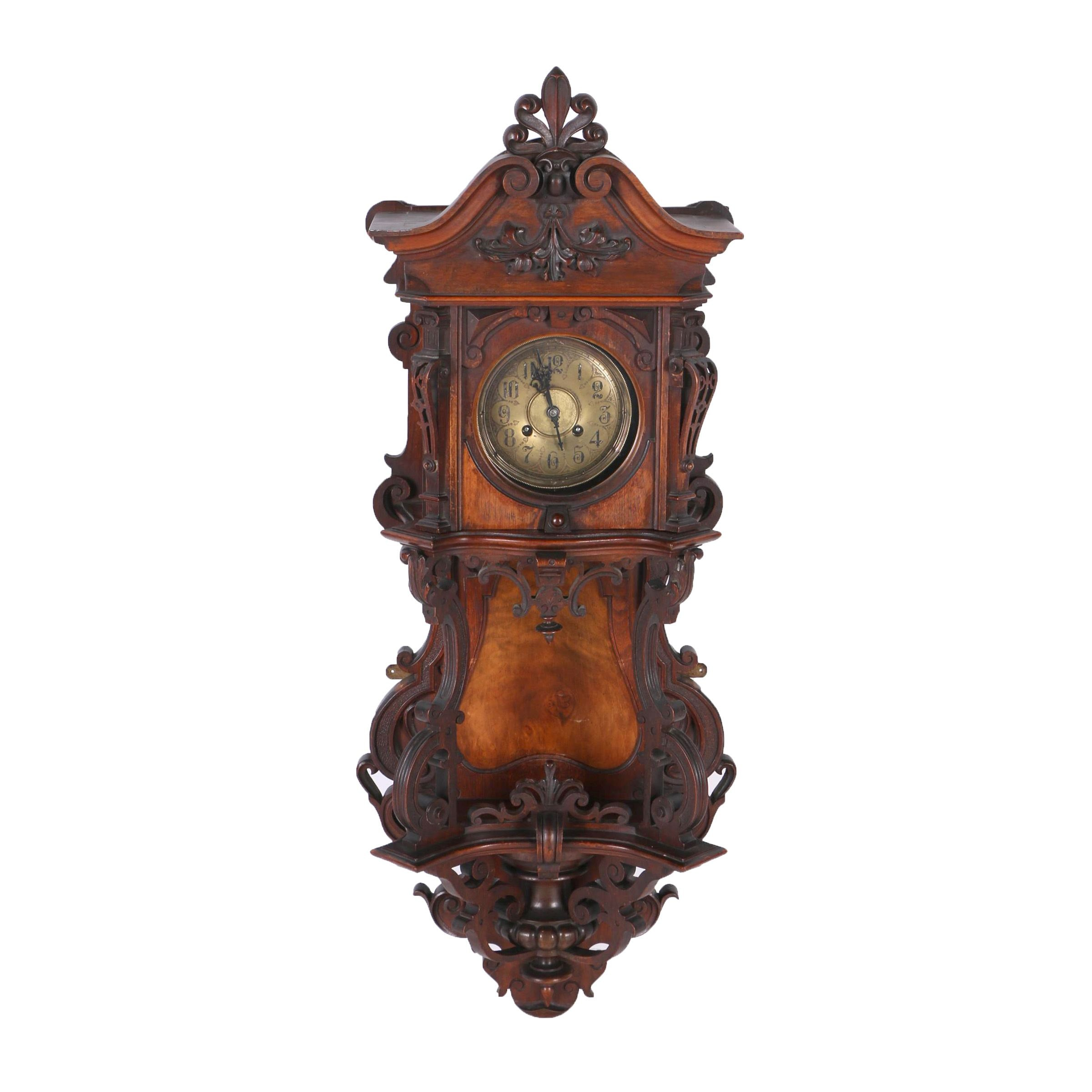Viennese Style Carved Wood Clock After Gustav and Becker
