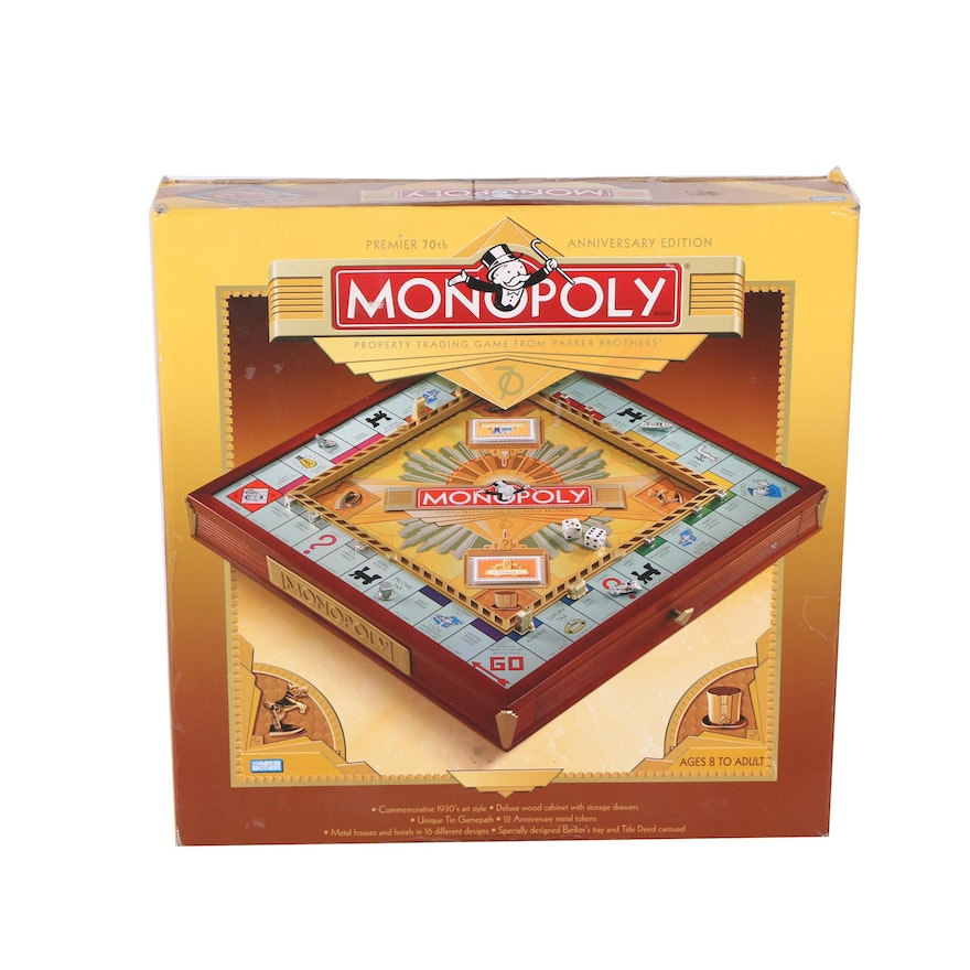 70th Anniversary Edition Monopoly Game With A Wood Framed Board