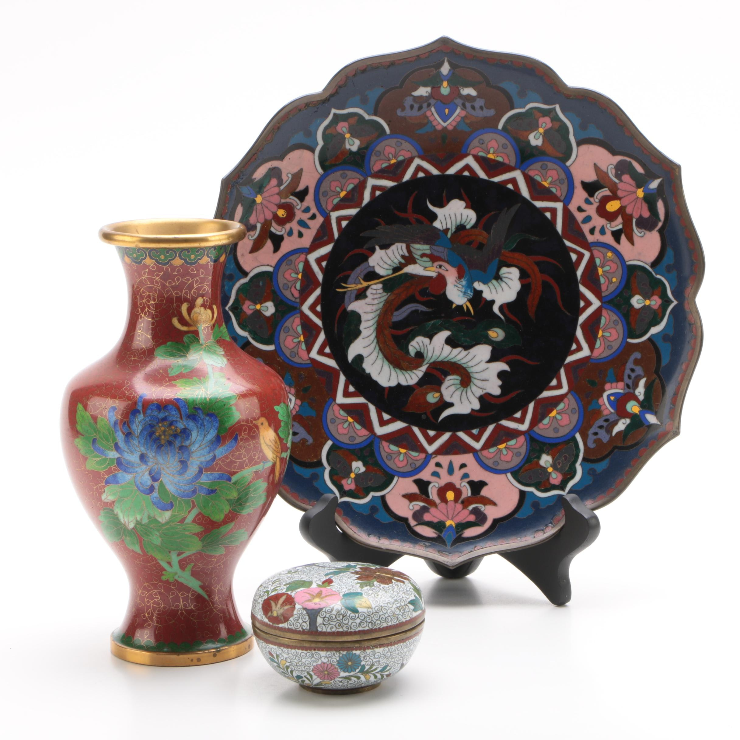 Vintage Cloisonné Vase, Plate with Stand, and Trinket Box