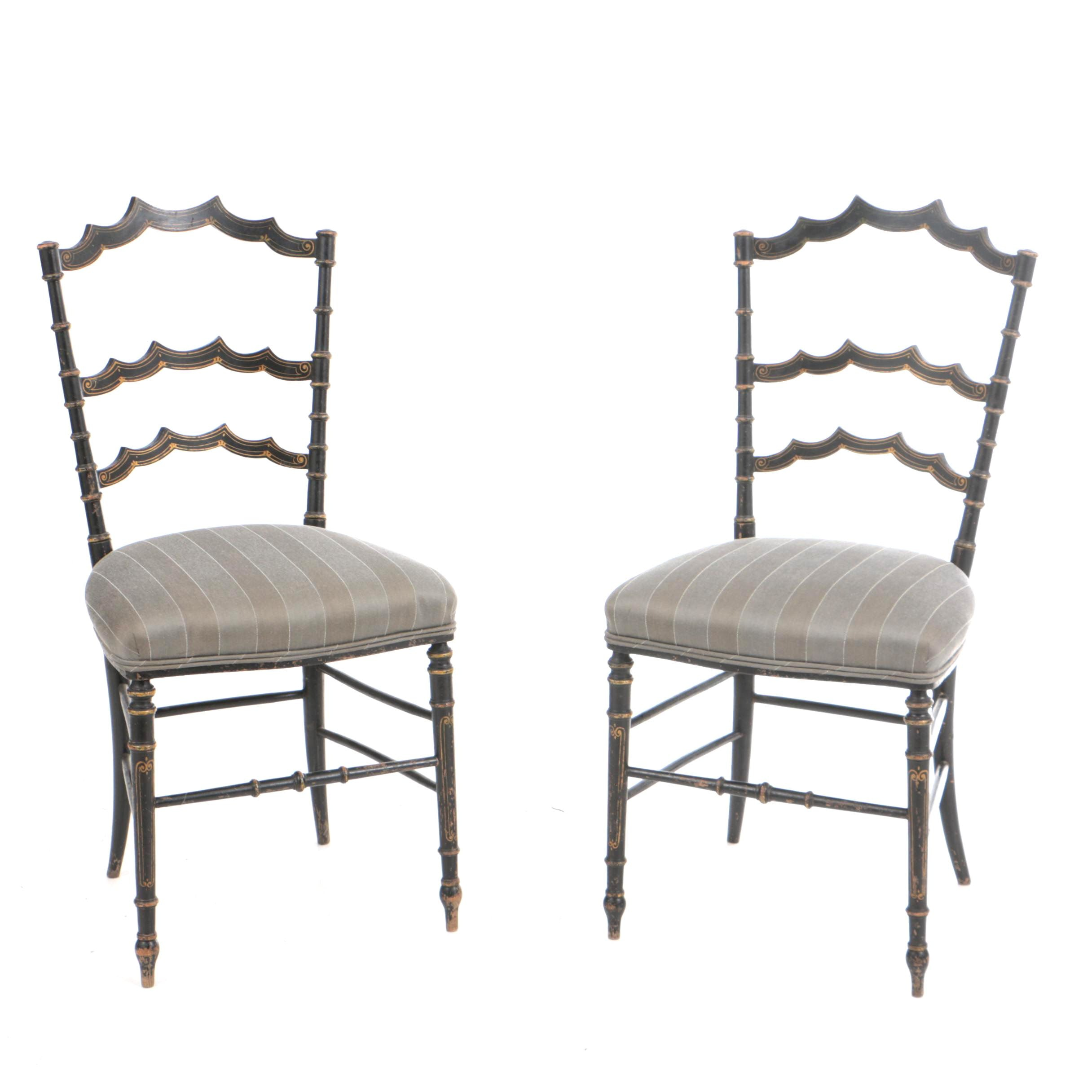 Chinoiserie Black and Gold Painted Side Chairs