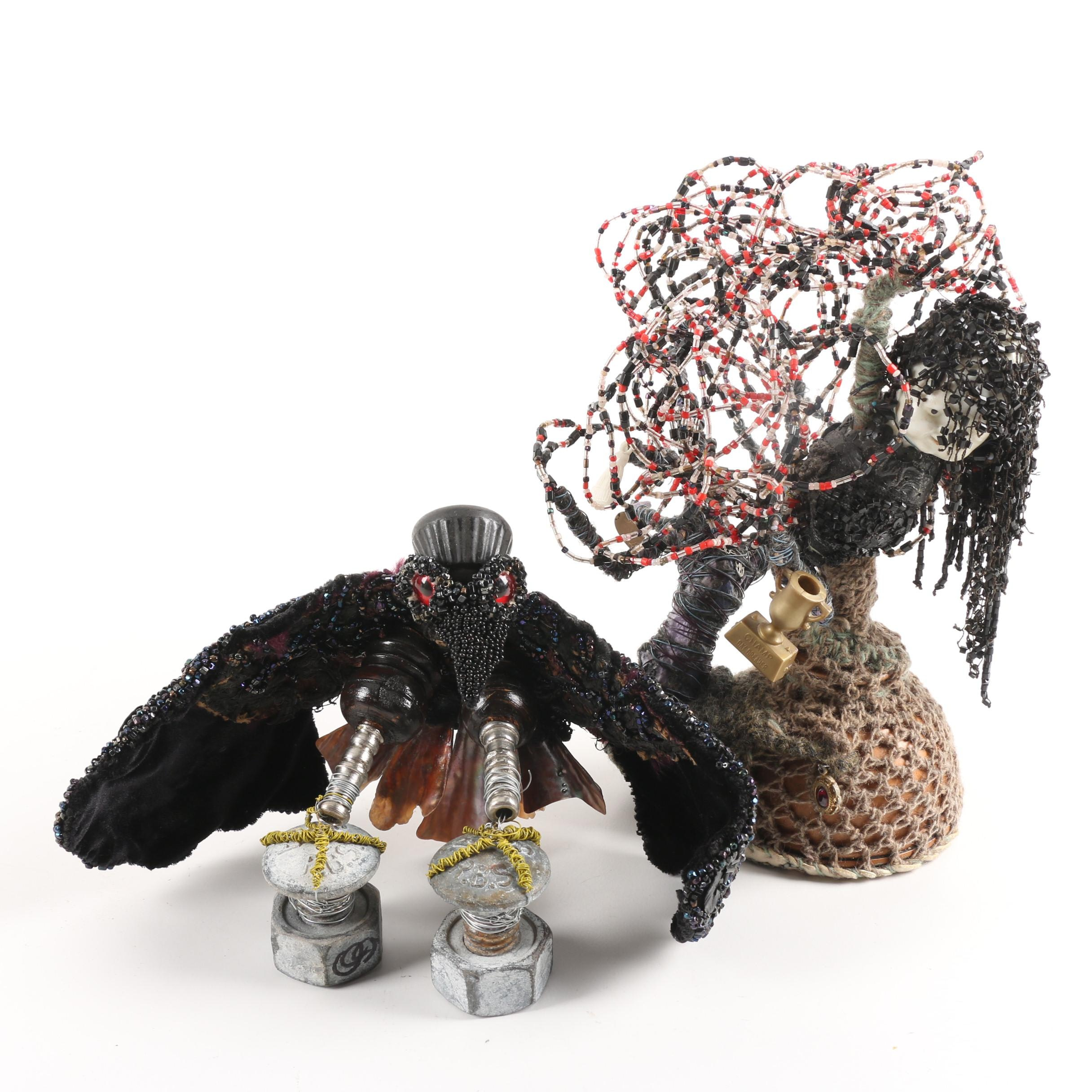Folk Art Style Sculptures Featuring Beaded Crow with Shell Feathers and More