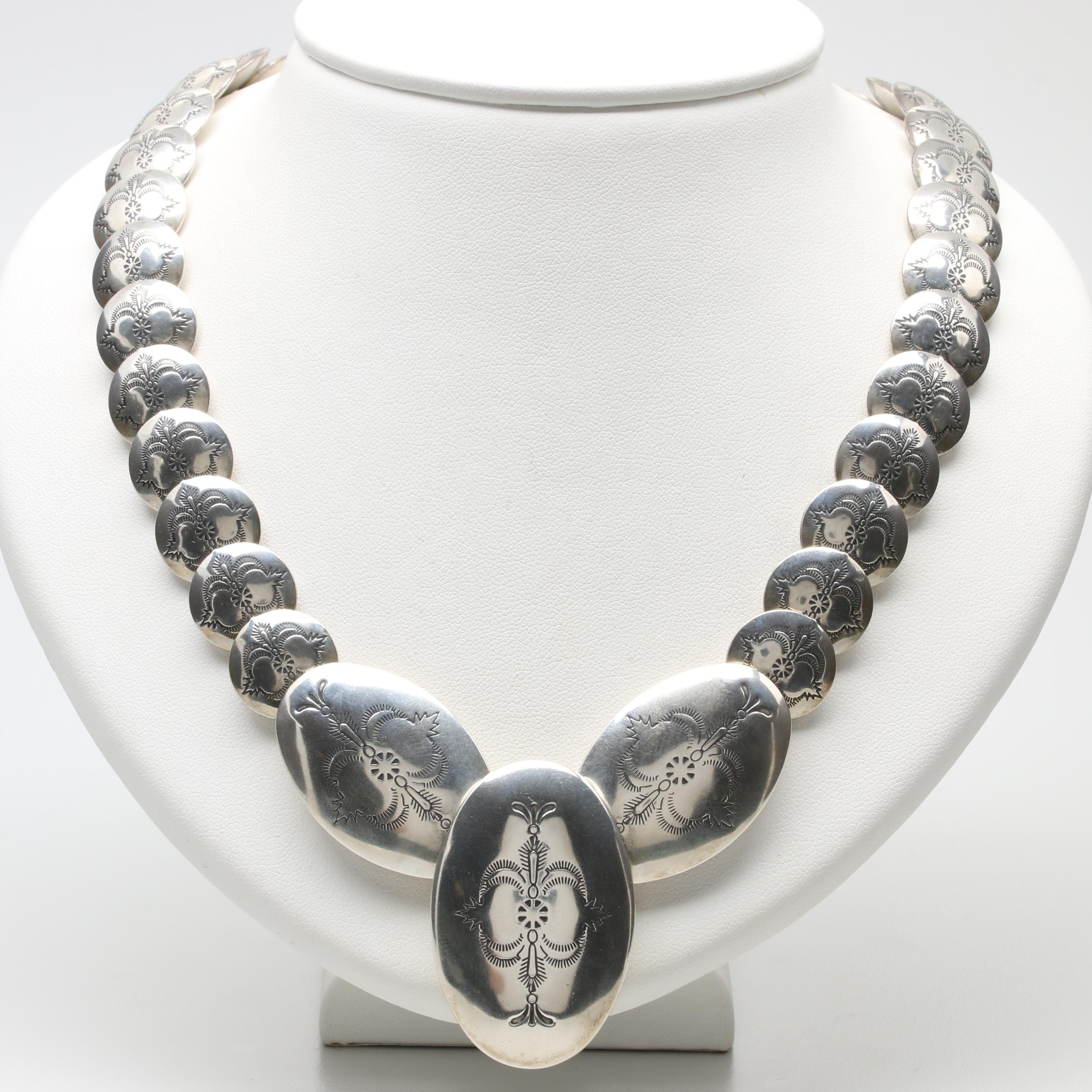 Carolyn Pollack for Relios Sterling Silver Concho Disk Necklace
