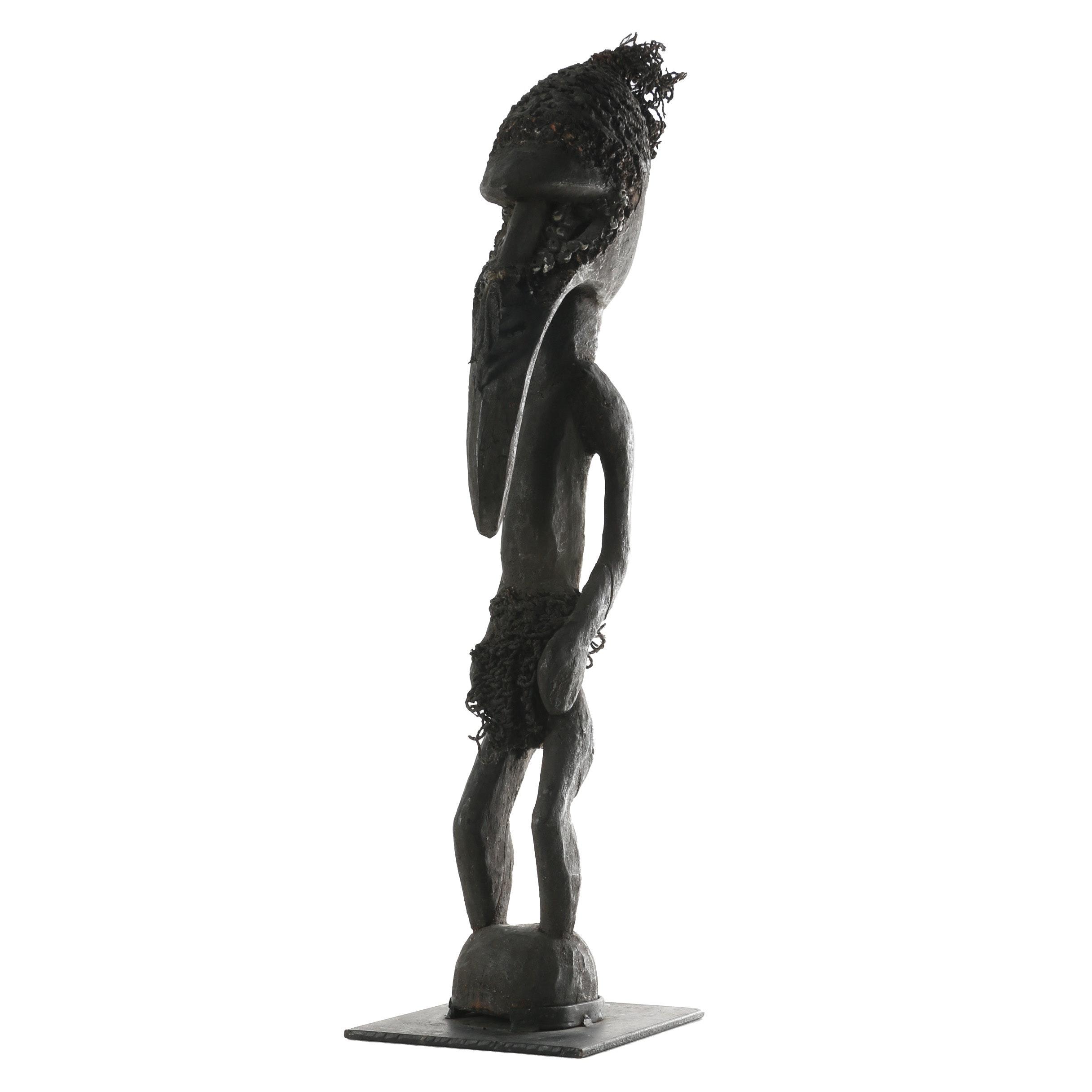 Vintage New Guinea Carved Wood Ancestral Figure