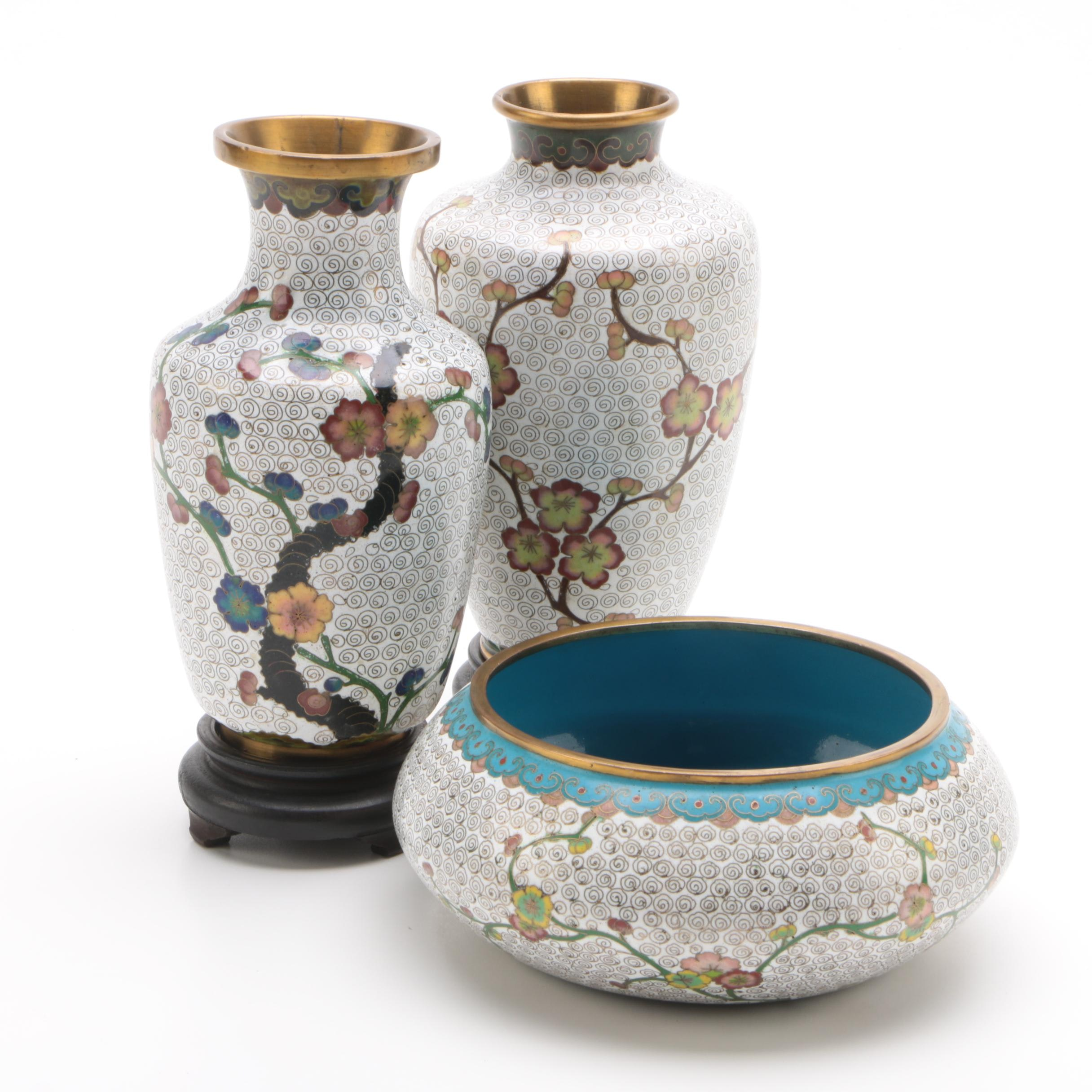 Chinese Cloisonné Bowl and Vases with Wooden Stands