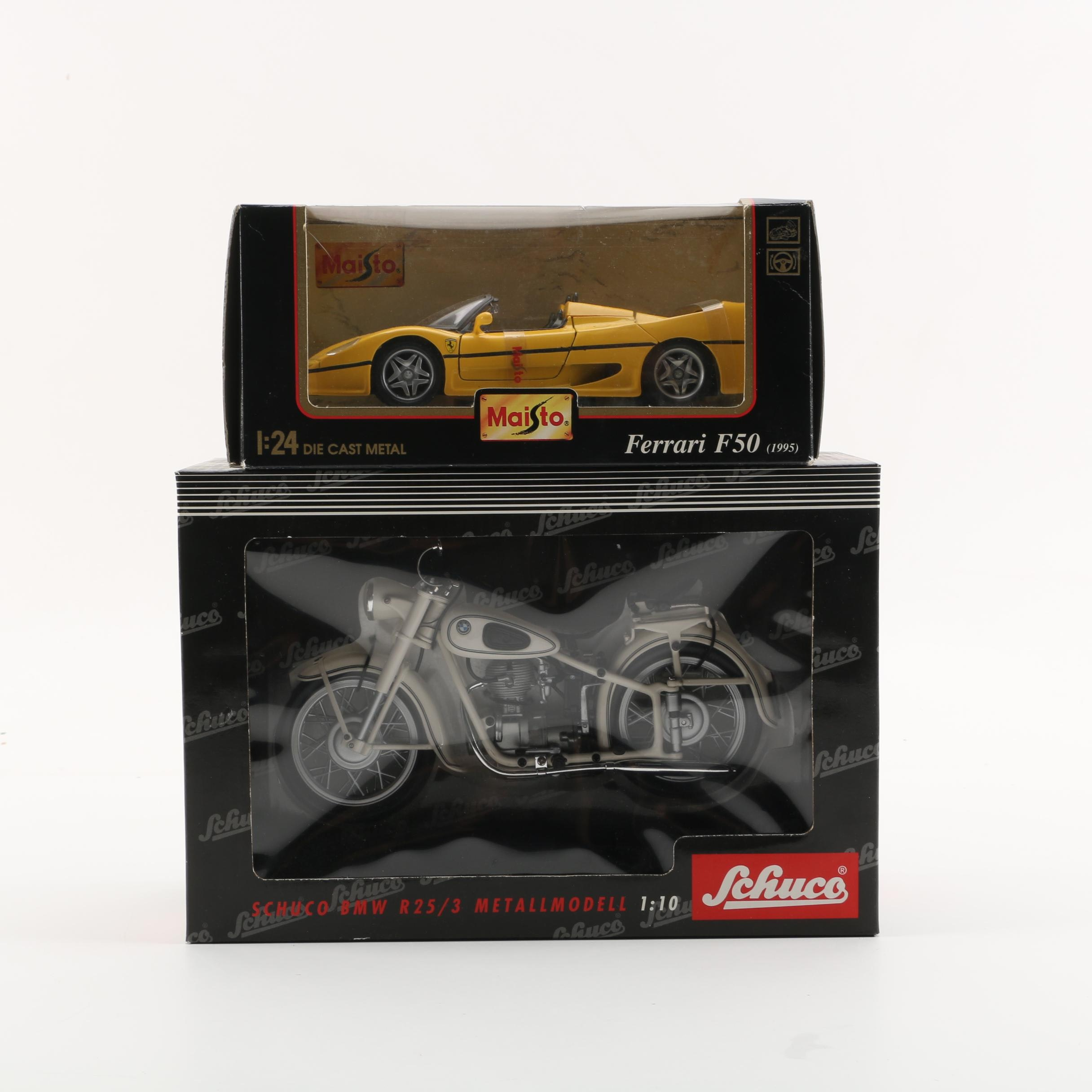 Schuco BMW R25/3 and Maisto Ferrari F50 Die-Cast Vehicles