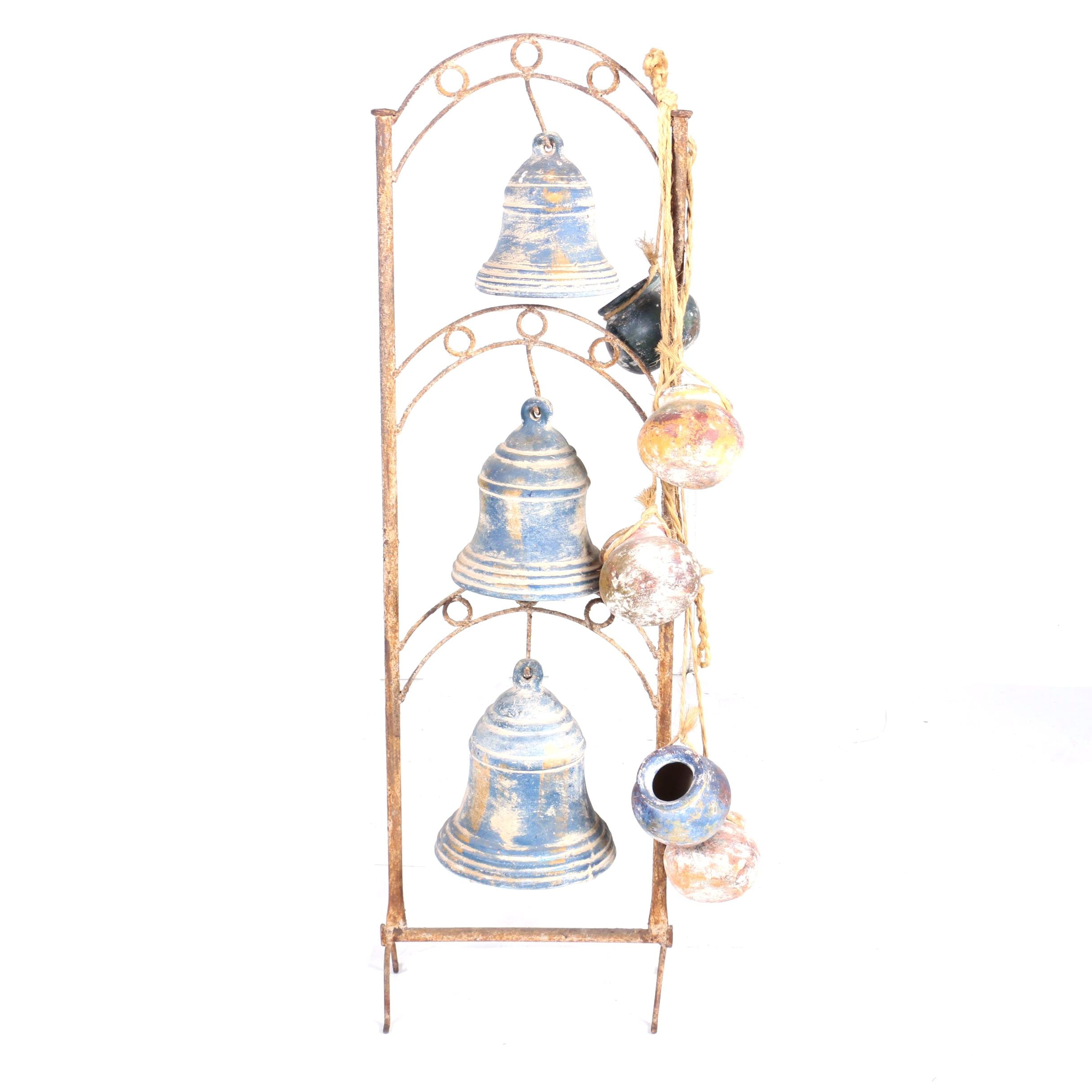 Rustic Ceramic Bells with Iron Metal Stand