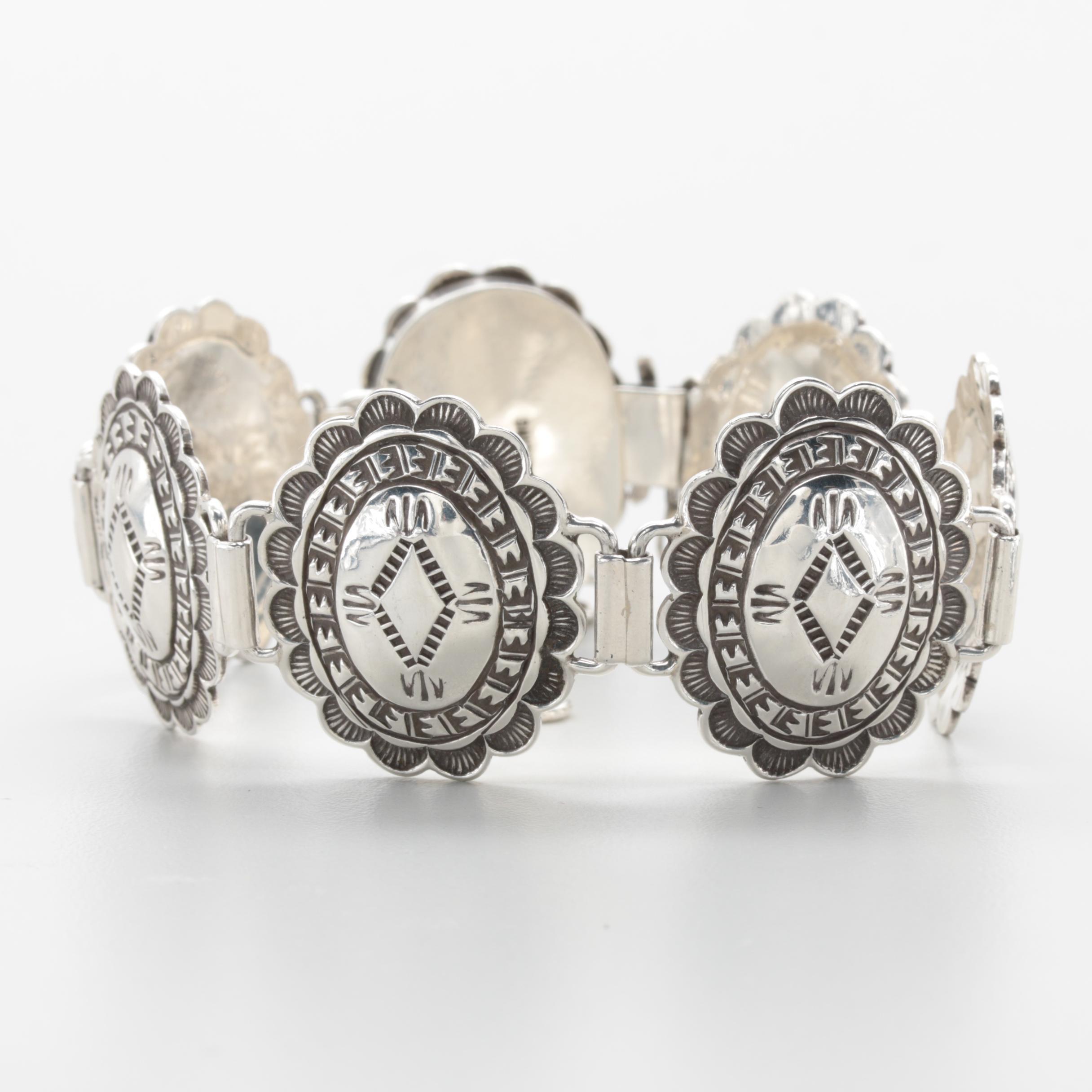 Southwestern Concho Style Sterling Silver Link Bracelet