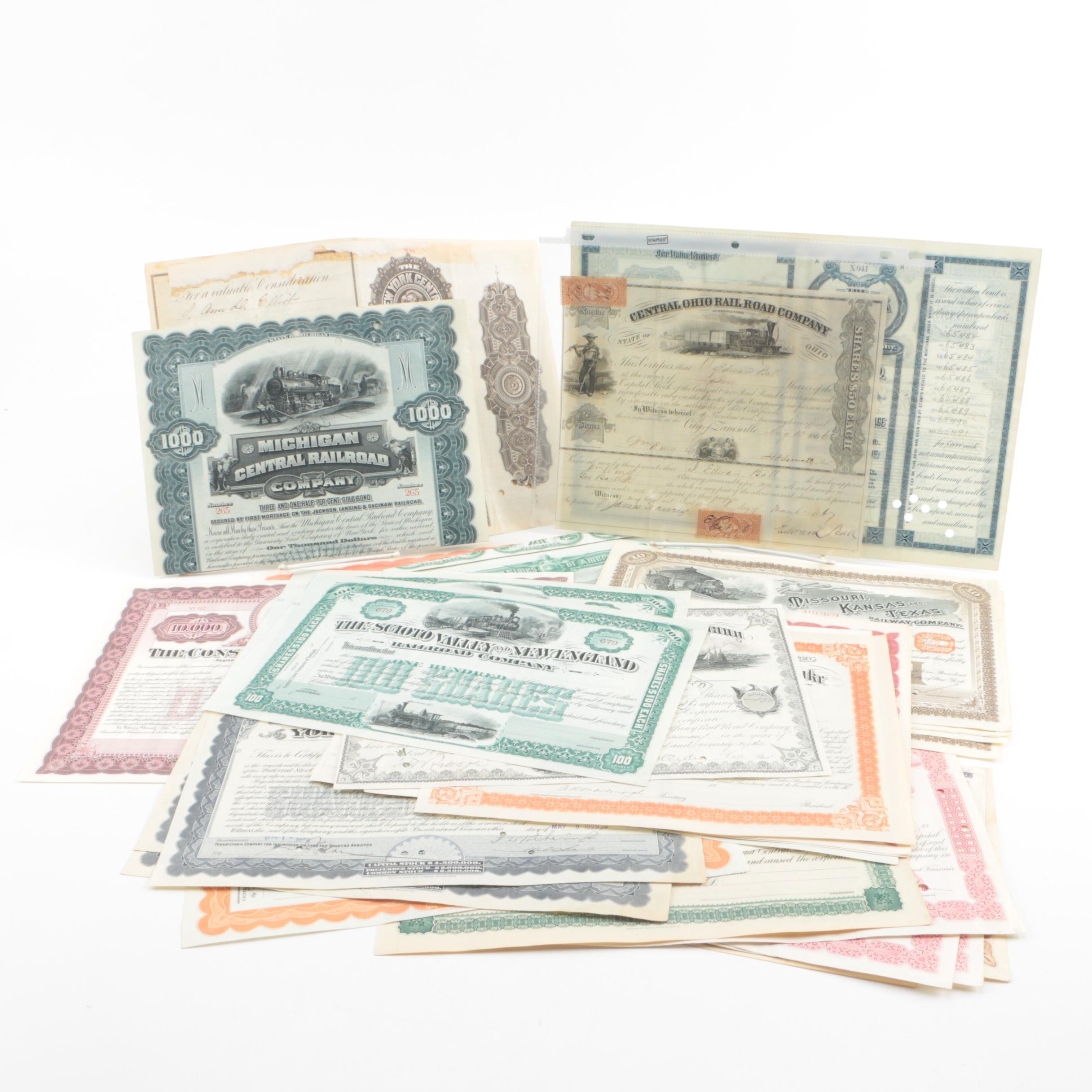 Collection of Railroad Stocks and Certificates
