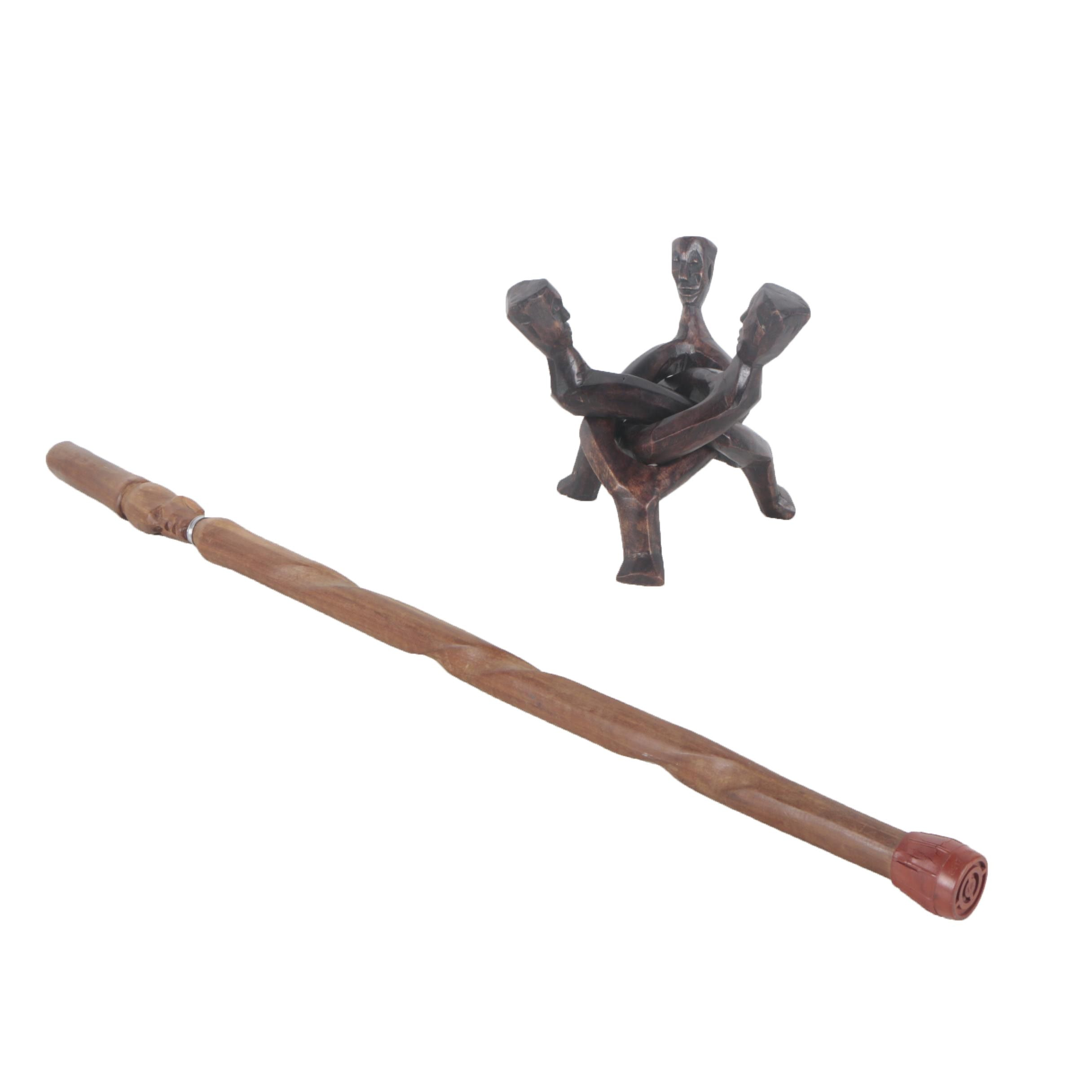 East African Style Wood Figural Sculpture and Walking Stick