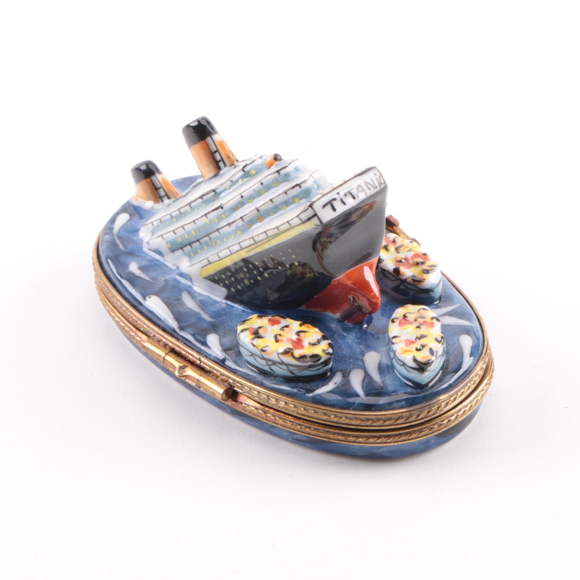 Limoges Limited Edition Titanic-Themed Porcelain Trinket Box