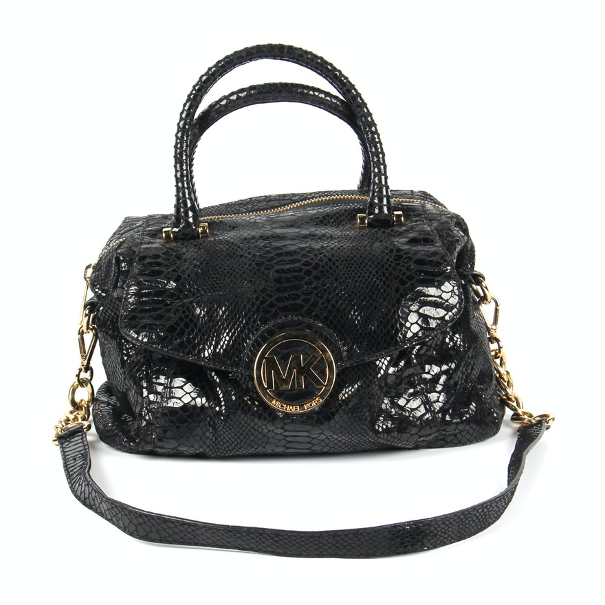 3255b414f27 Michael Kors Snakeskin Embossed Black Leather Satchel   EBTH