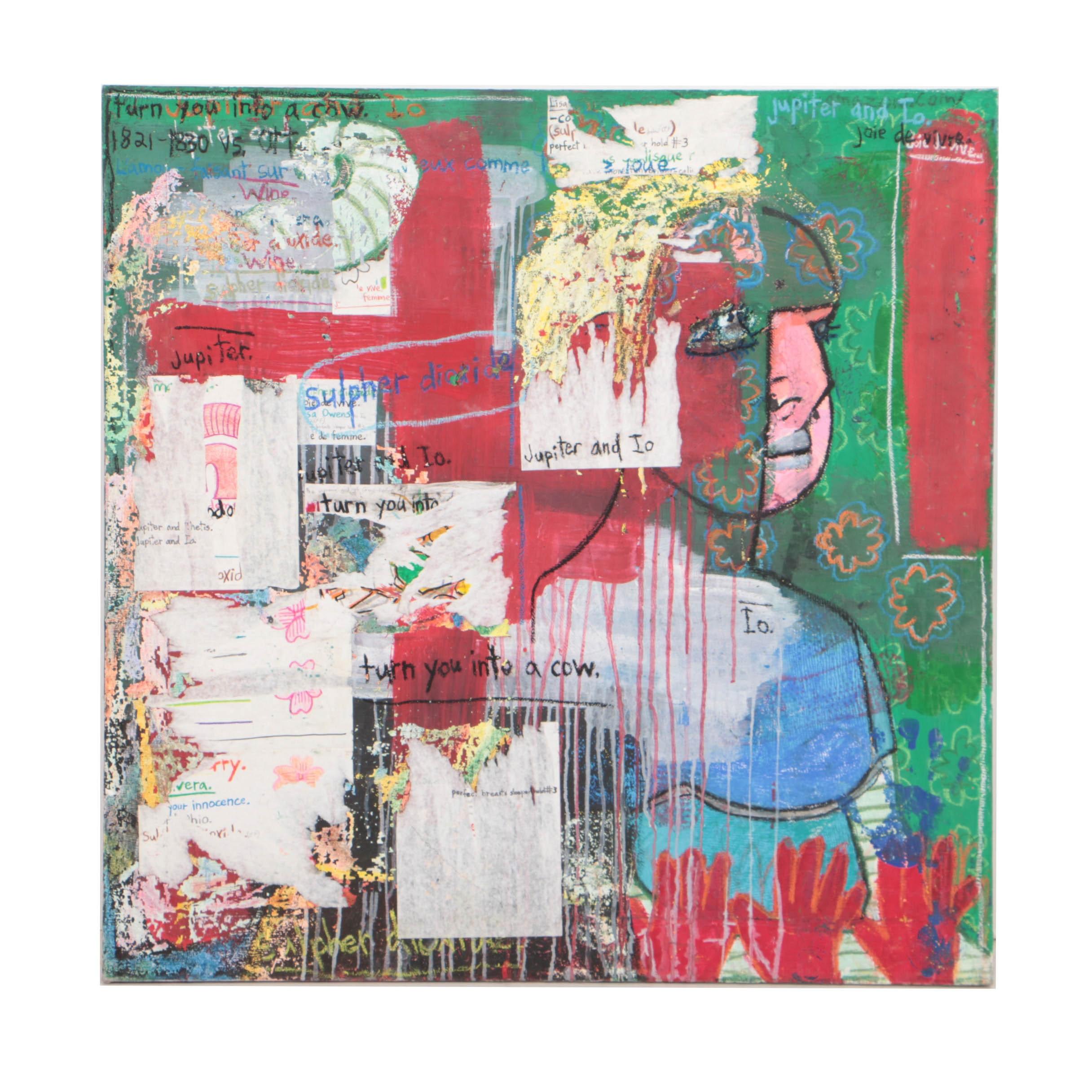 "Adam Maloney 2001 Mixed Media on Canvas ""Jupiter and Io"""
