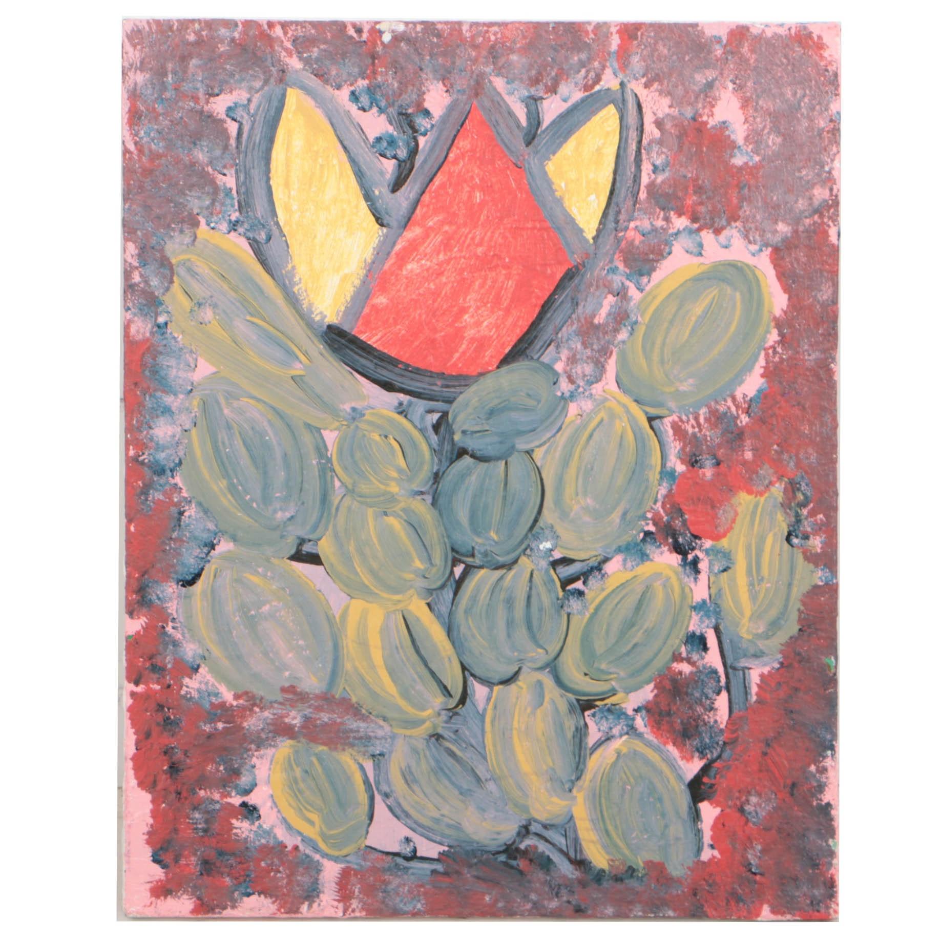 "Curtis Davis 2018 Acrylic Painting on Canvas ""Flower"""