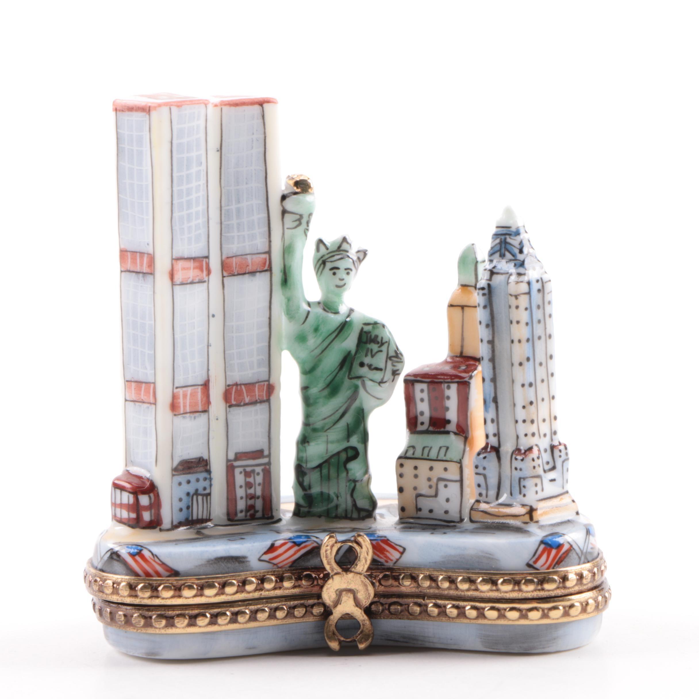Limoges New York Themed Porcelain Trinket Box