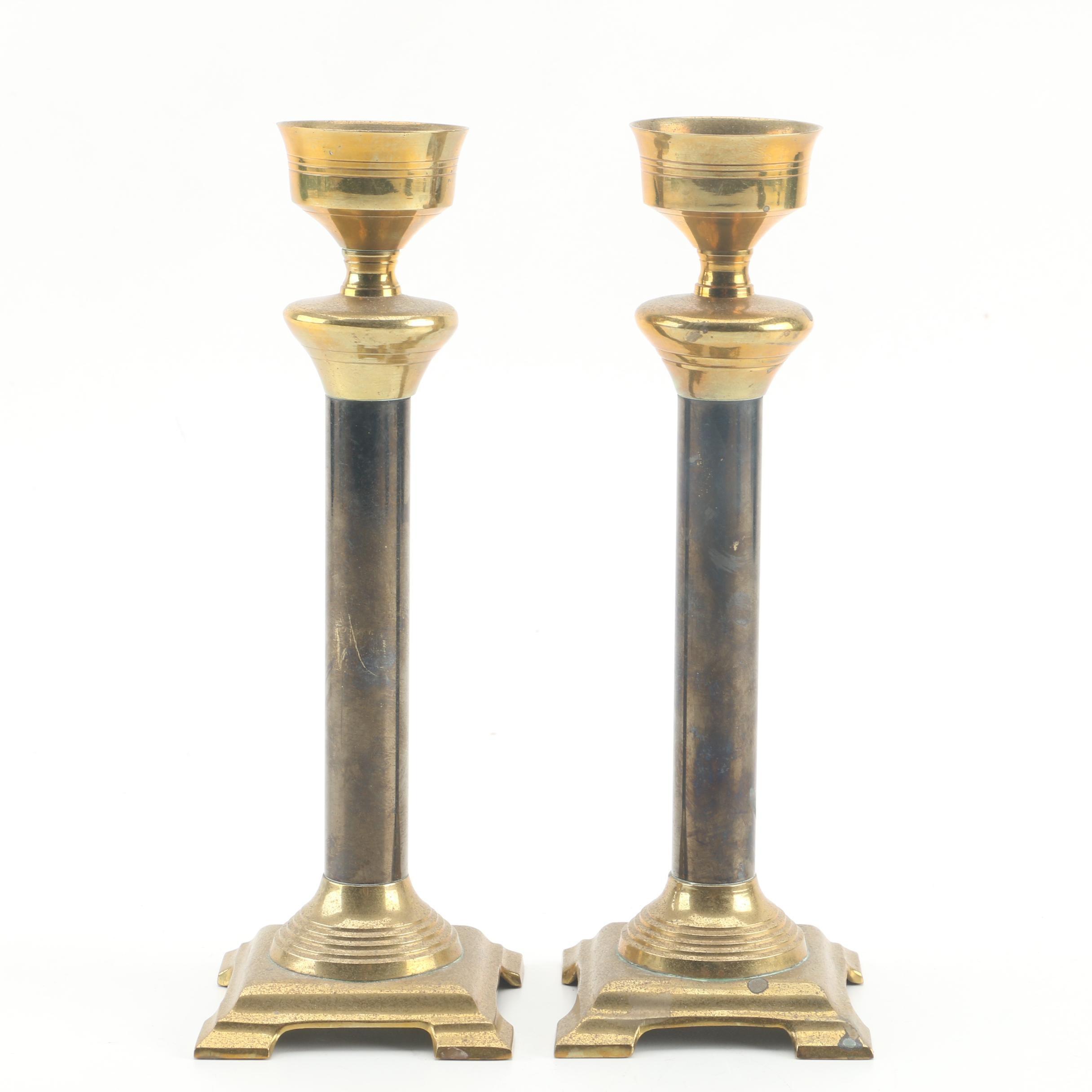 Indian Brass Pedestal Candlesticks