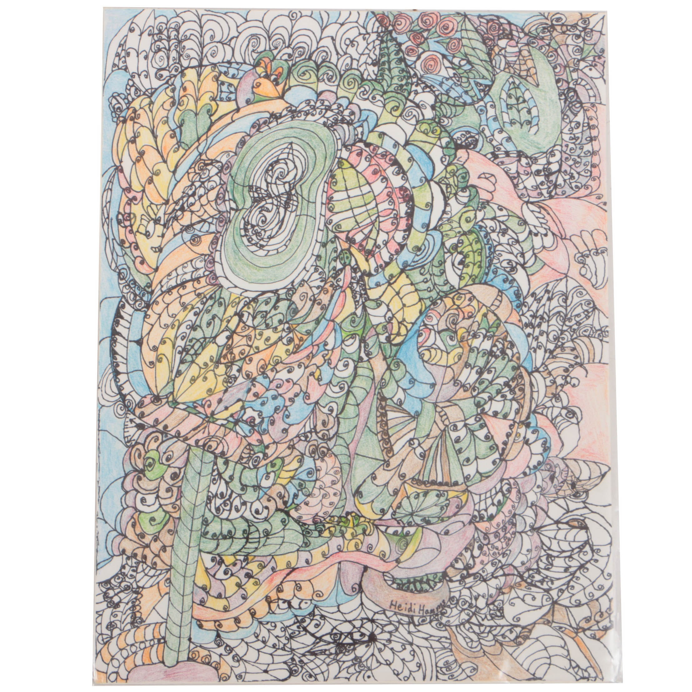 """Heidi Hamms 2015 Ink and Colored Pencil Drawing on Paper """"Festival"""""""
