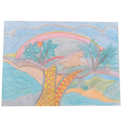 """Joy Harms 2015 Colored Pencil Drawing on Mat Board """"Walking Trail"""""""