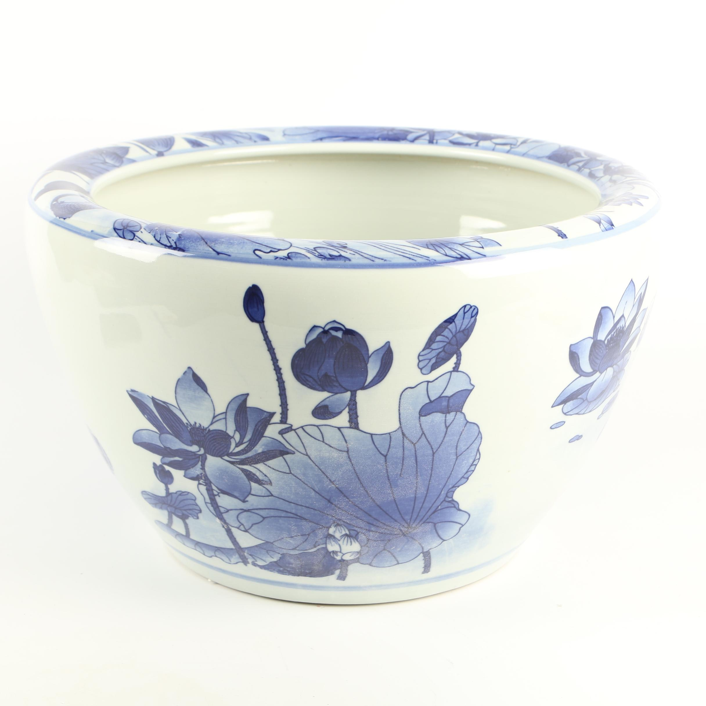 Chinese Blue and White Lotus and Water Fowl Themed Ceramic Planter