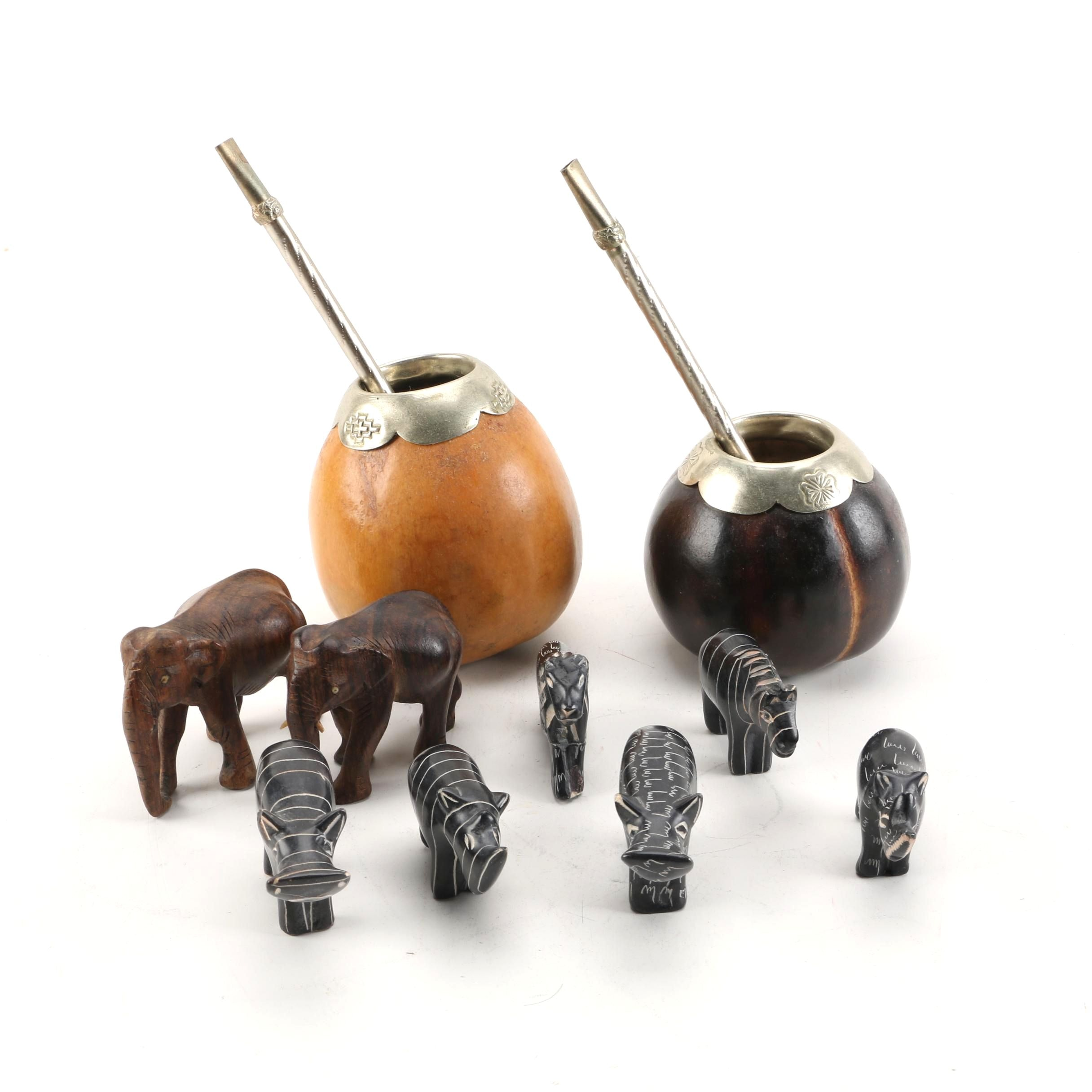 Argentinian Yerba Mate Gourd Cups with Straws and Carved Soapstone Figurines