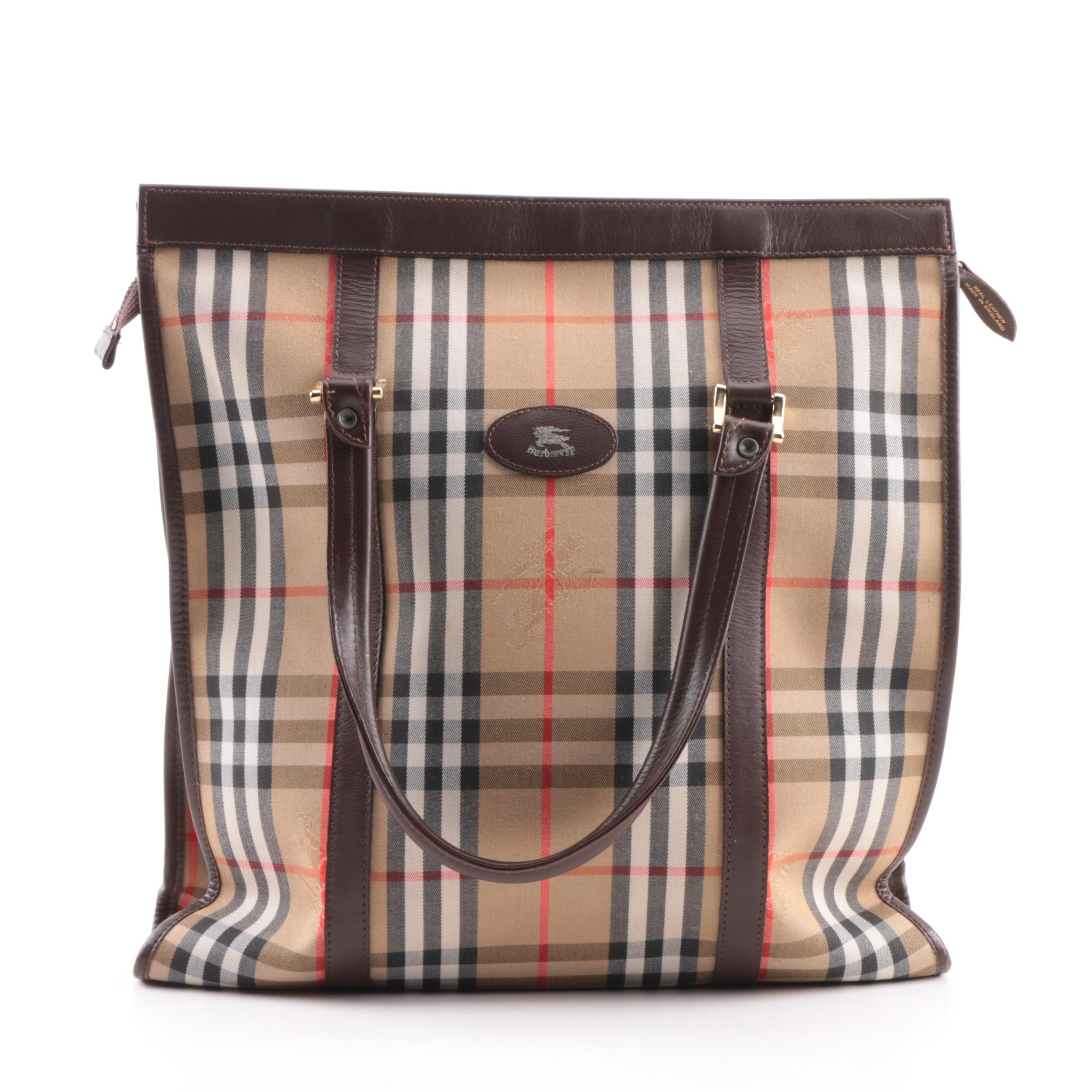 "Burberry ""Haymarket"" Check Canvas and Leather Tote Bag"