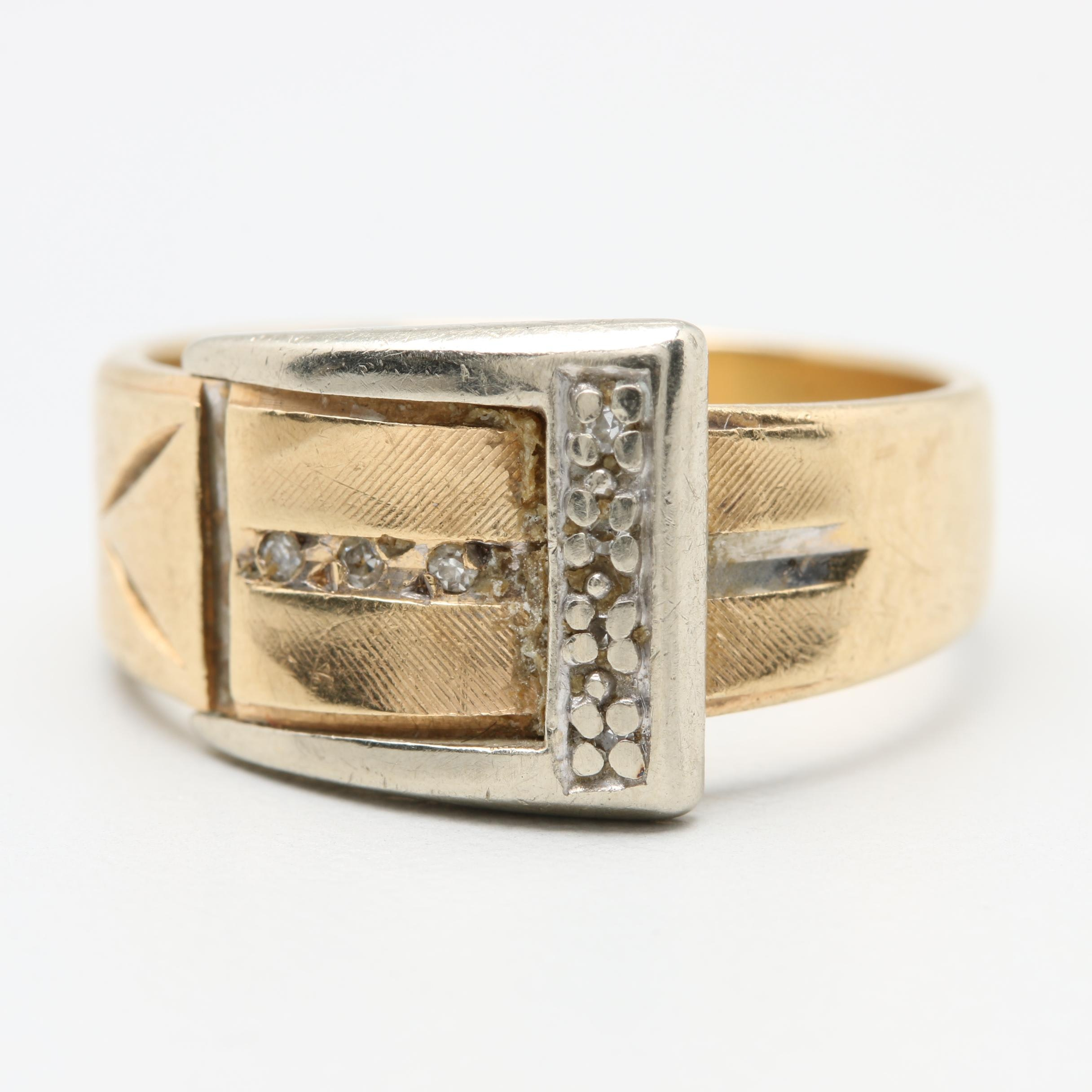 14K Yellow Gold Diamond Buckle Ring with White Gold Accents