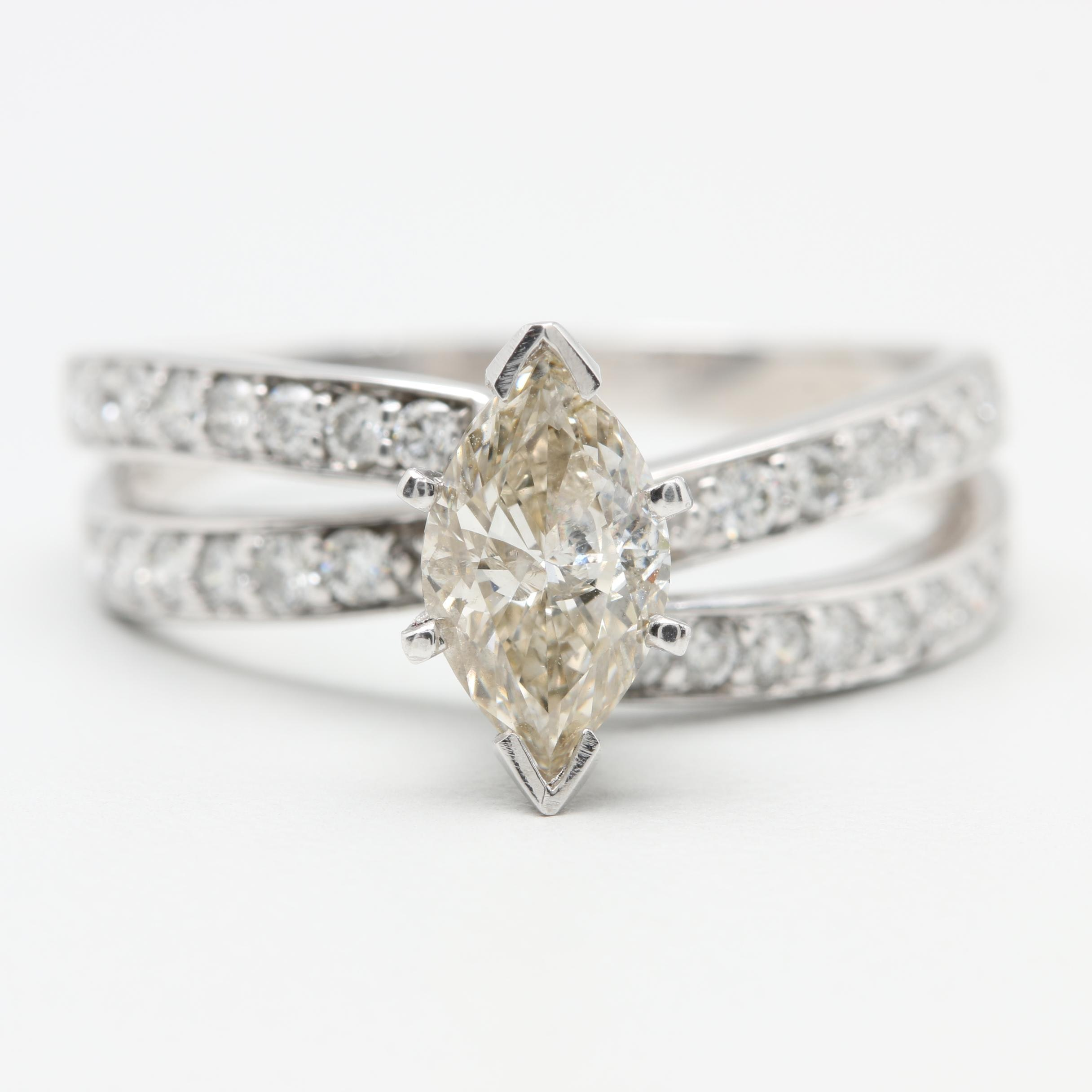 14K White Gold 1.49 CTW Diamond Ring with Platinum Accents