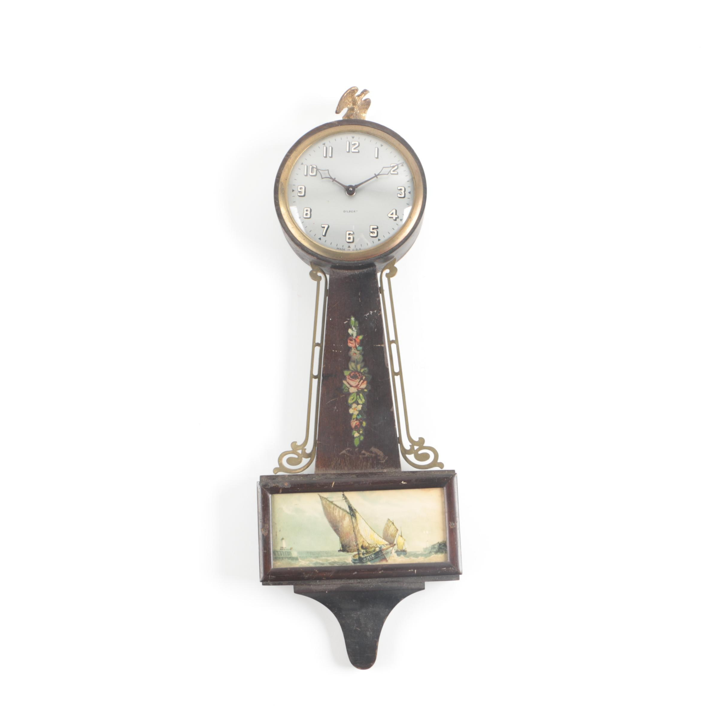 Circa 1920s Gilbert Clock Co. Scenic Banjo Wall Clock