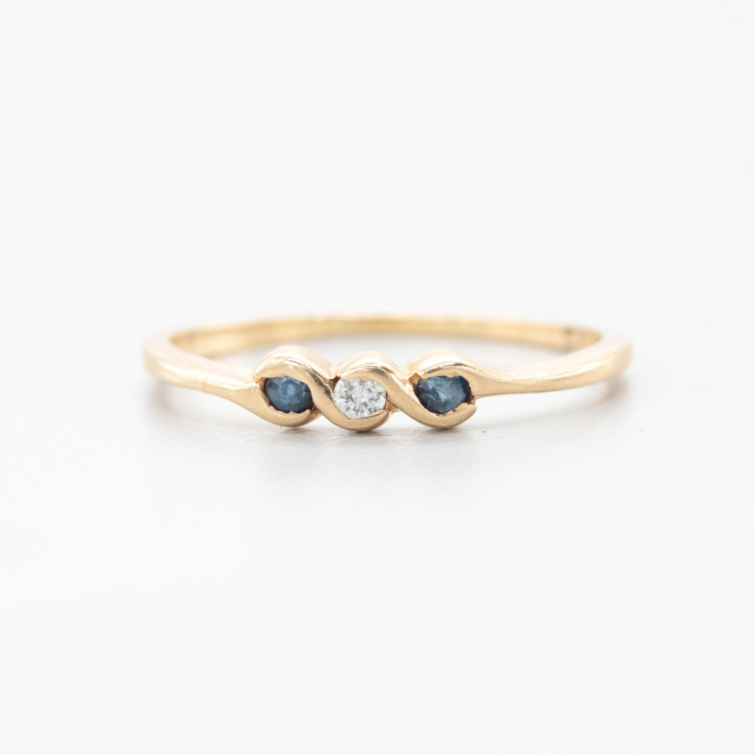 10K Yellow Gold Diamond and Blue Sapphire Ring