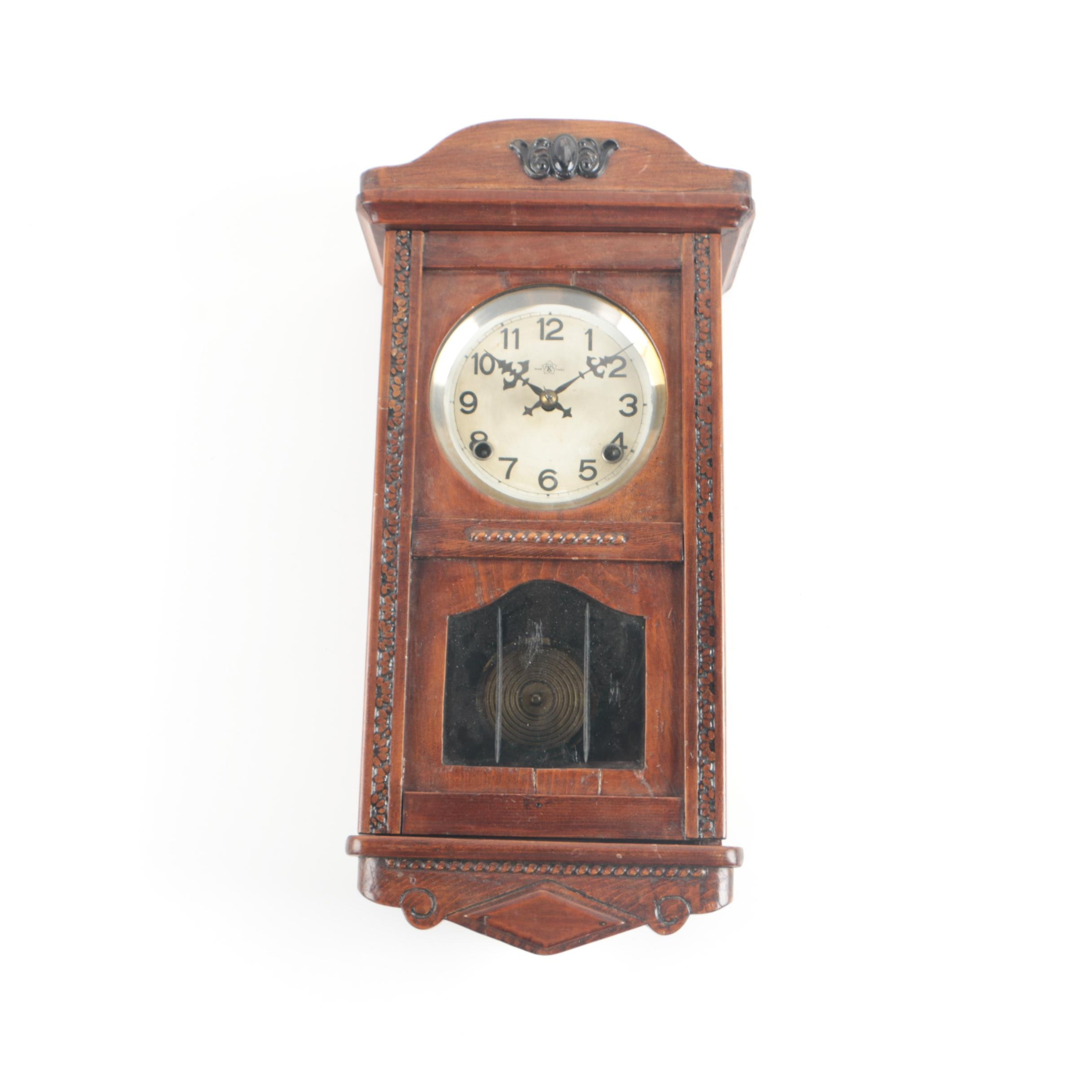 Vintage Arts and Crafts Style Wood Wall Clock