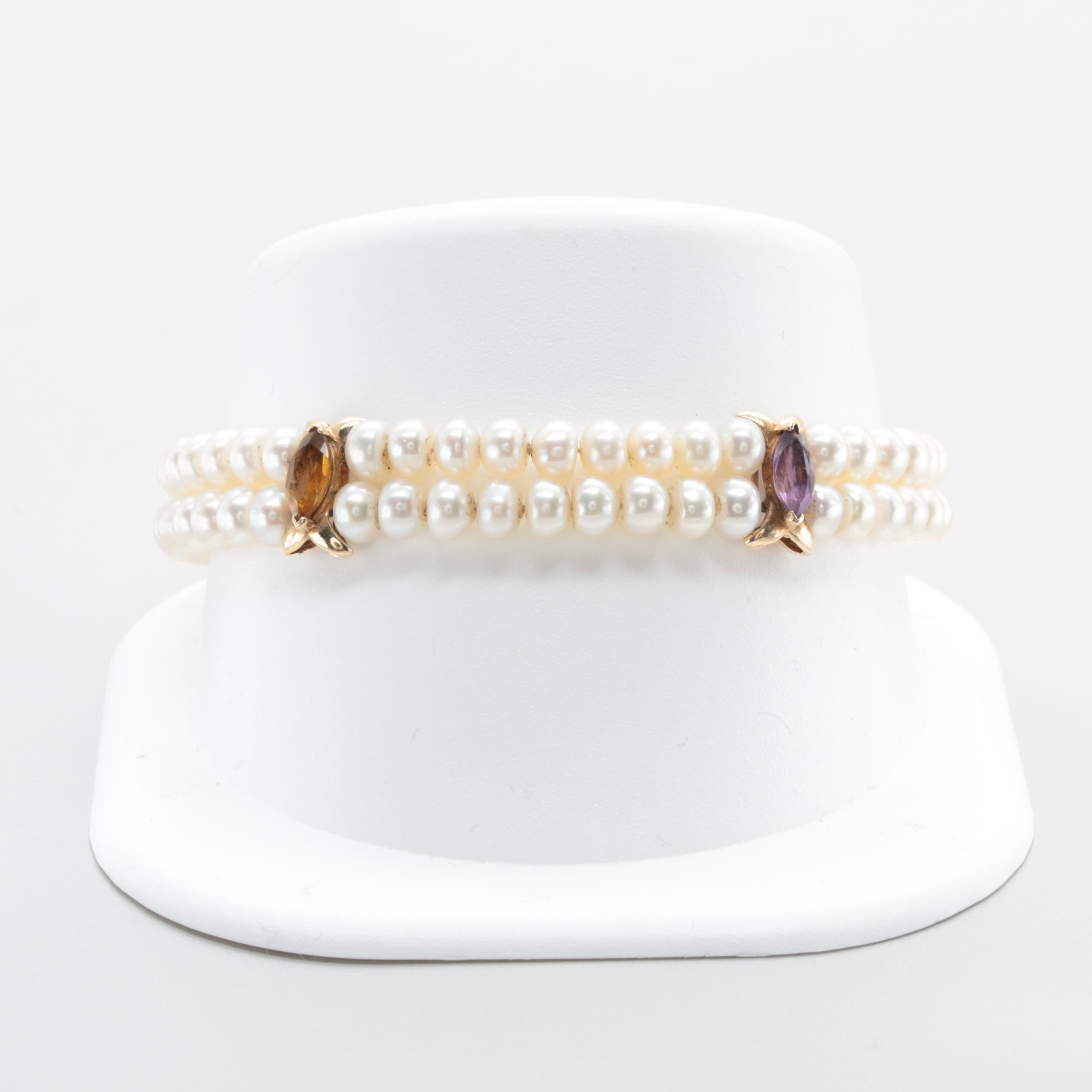 14K Yellow Gold Gemstone Bracelet Including Cultured Pearl