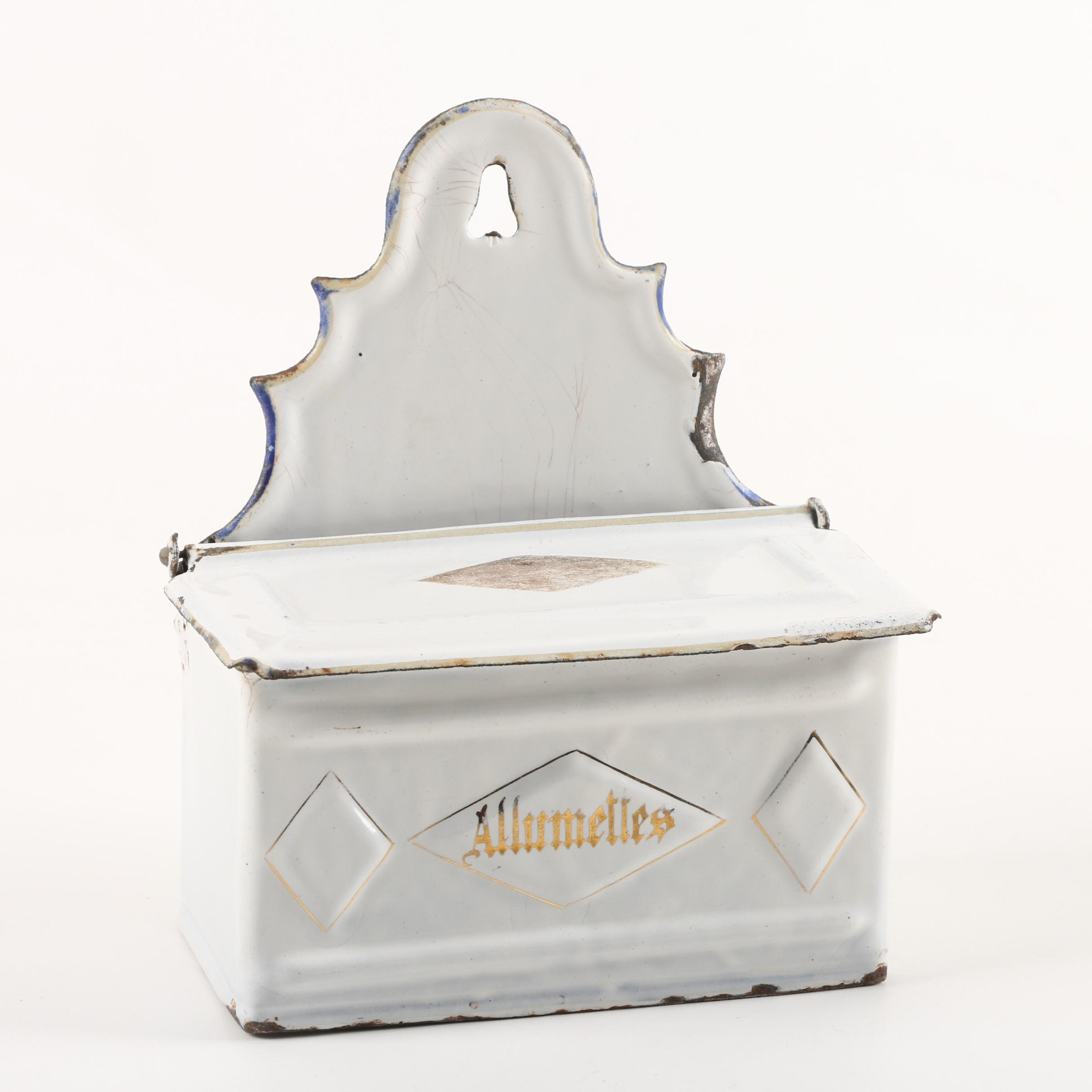 "Vintage ""Allumettes"" French White Enameled Metal Match Box"