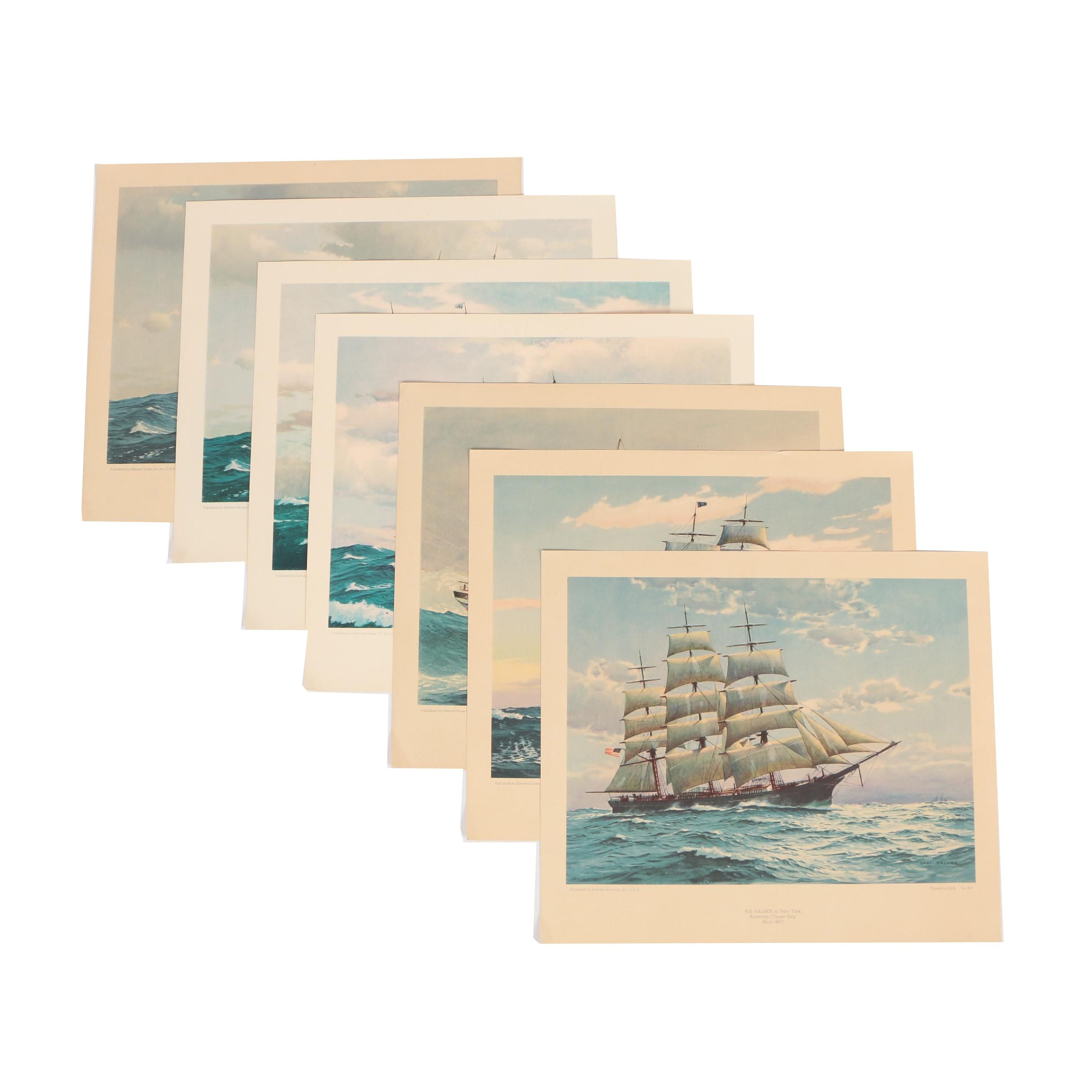 American Merchant Ships Color Lithographs after Charles Rosner