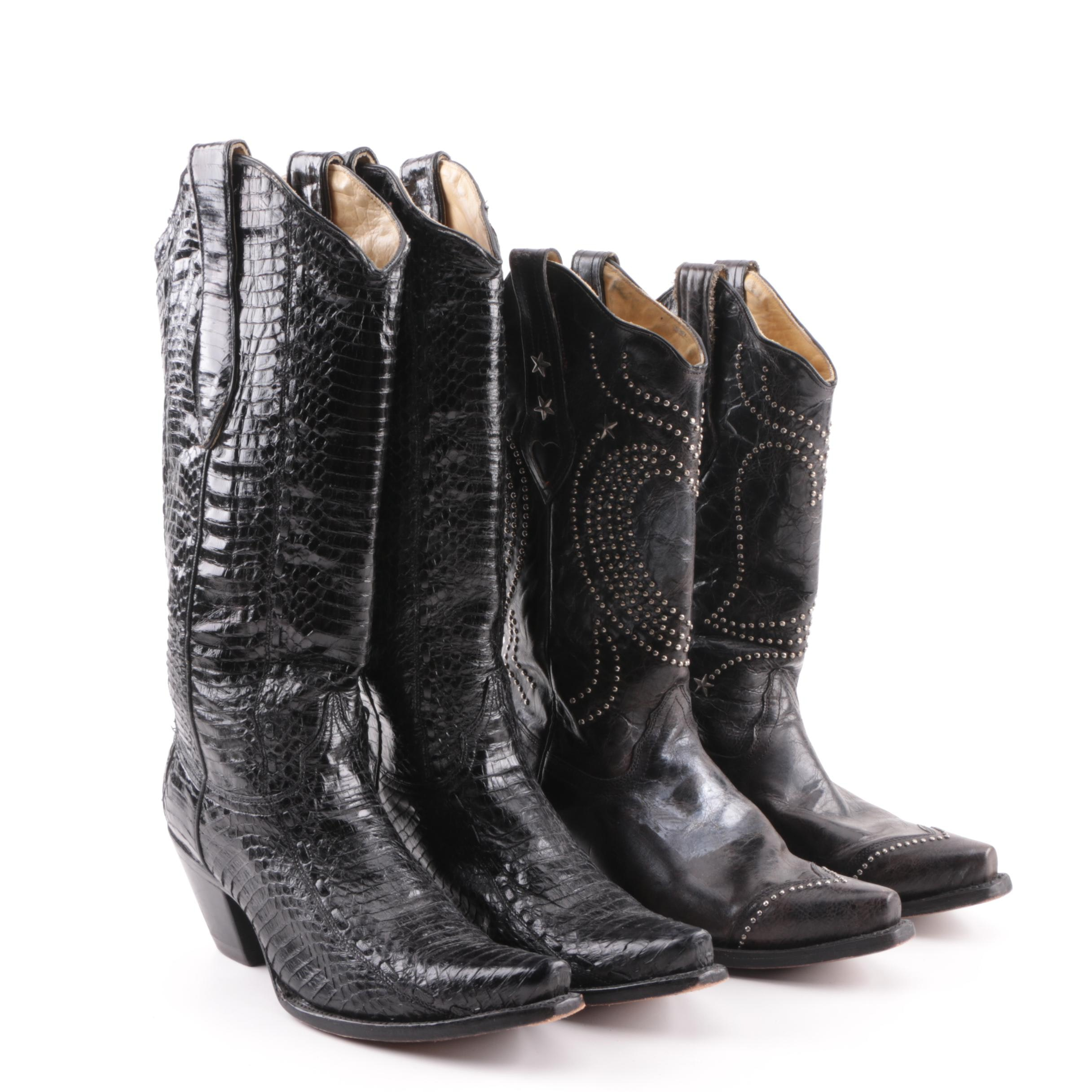 Women's Corral Leather and Python Cowboy Boots