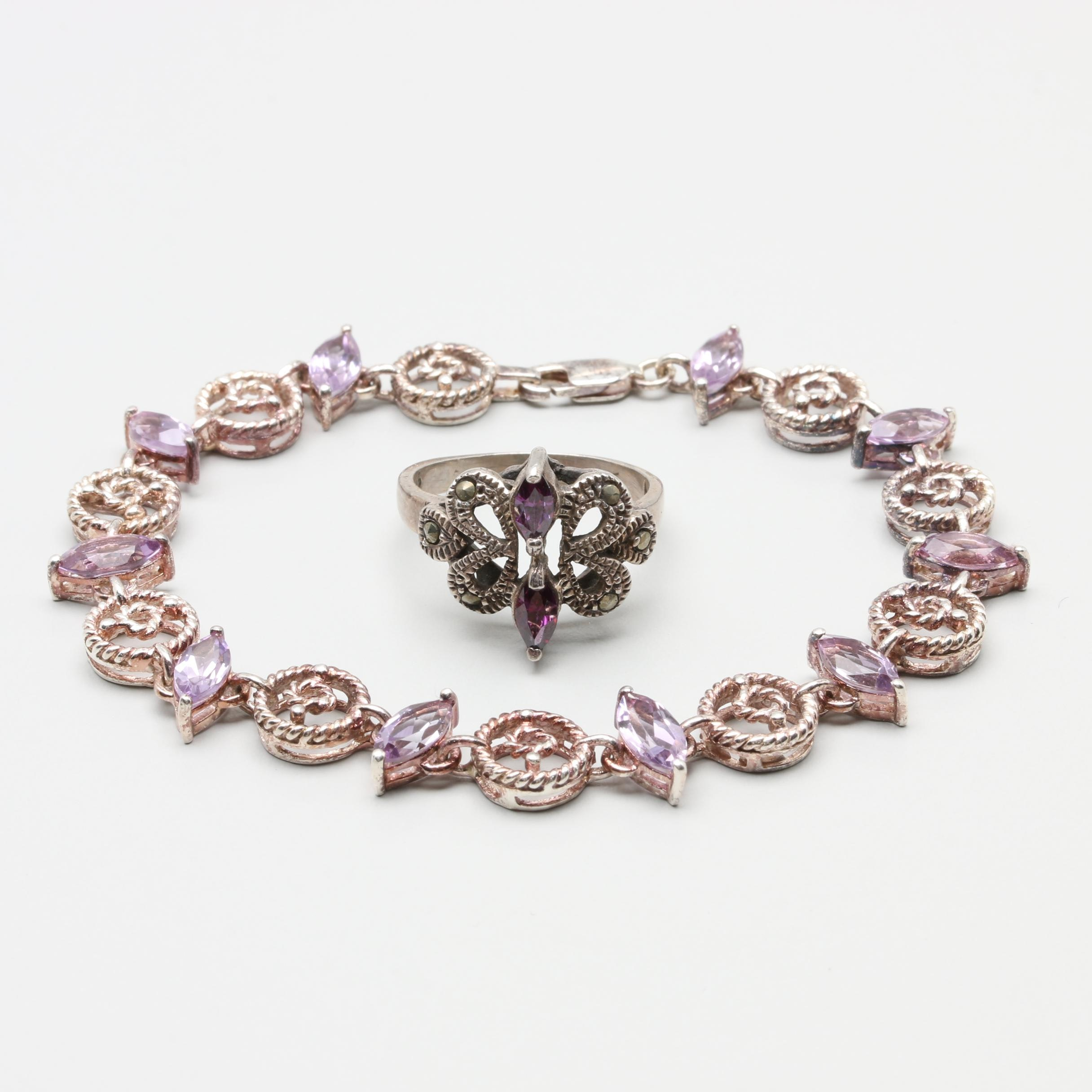 Sterling Silver Bracelet and Ring Selection Featuring Amethyst and Marcasite