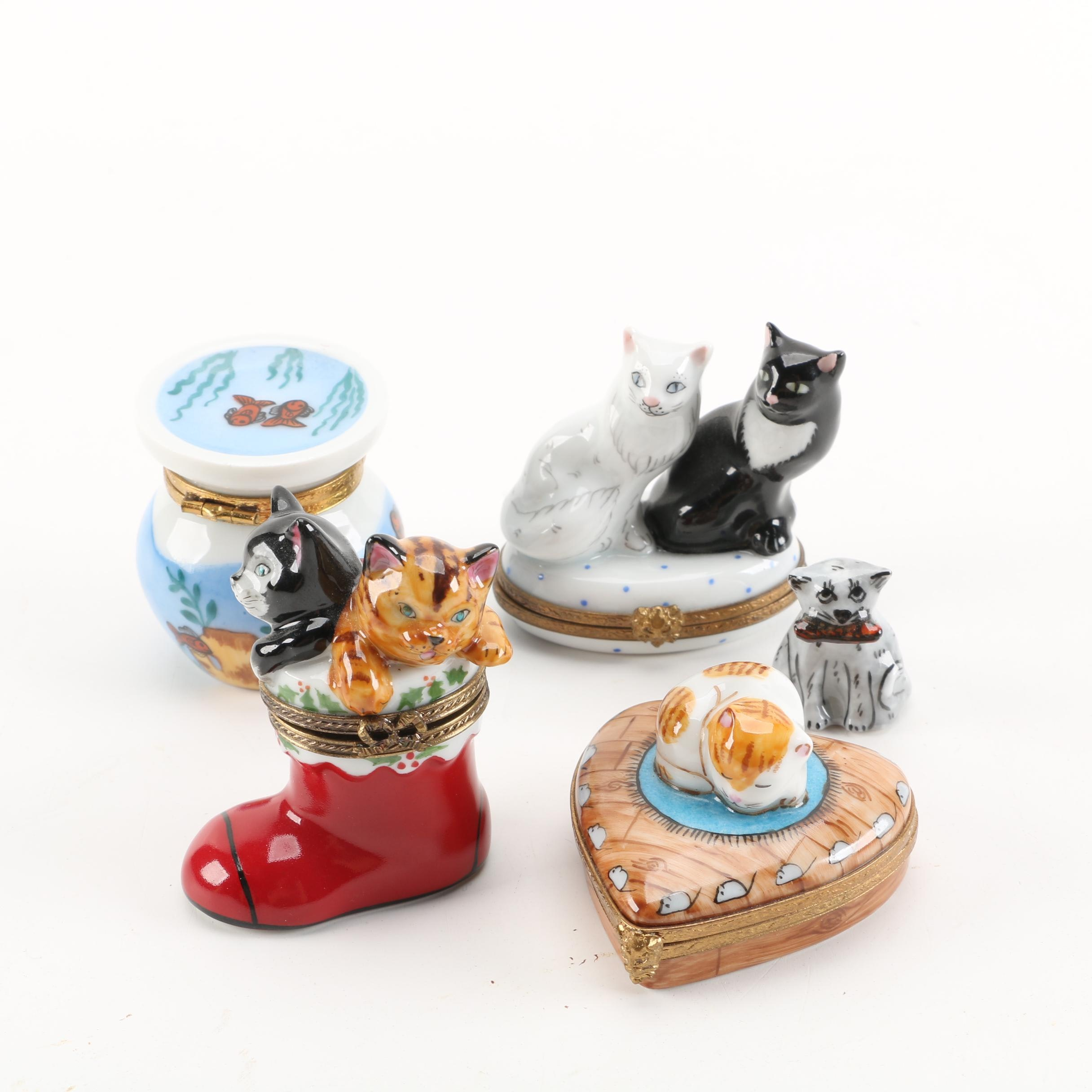 Limoges Hand-Painted Porcelain Cat Themed Trinket Boxes