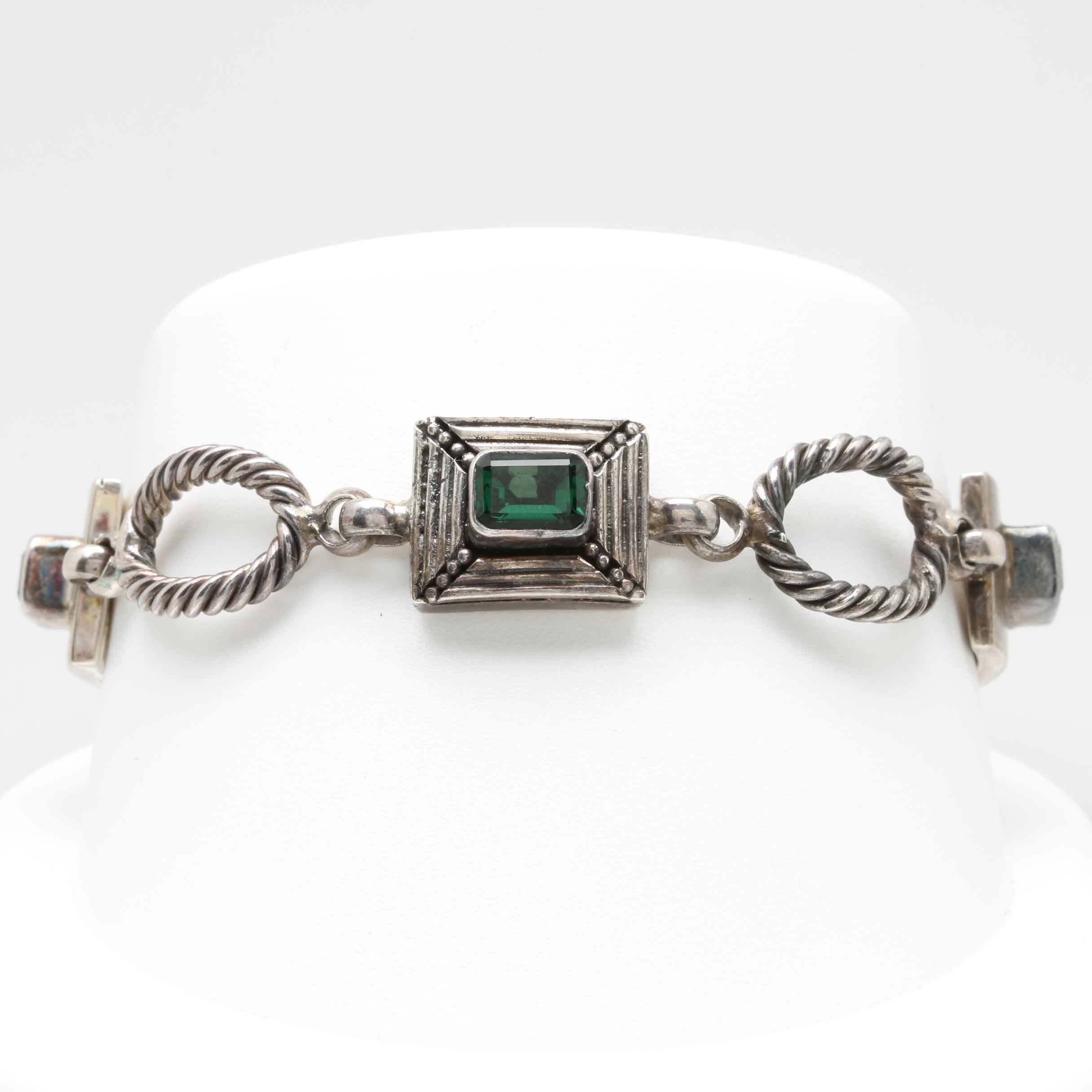 Sterling Silver Quartz Custom Link Bracelet