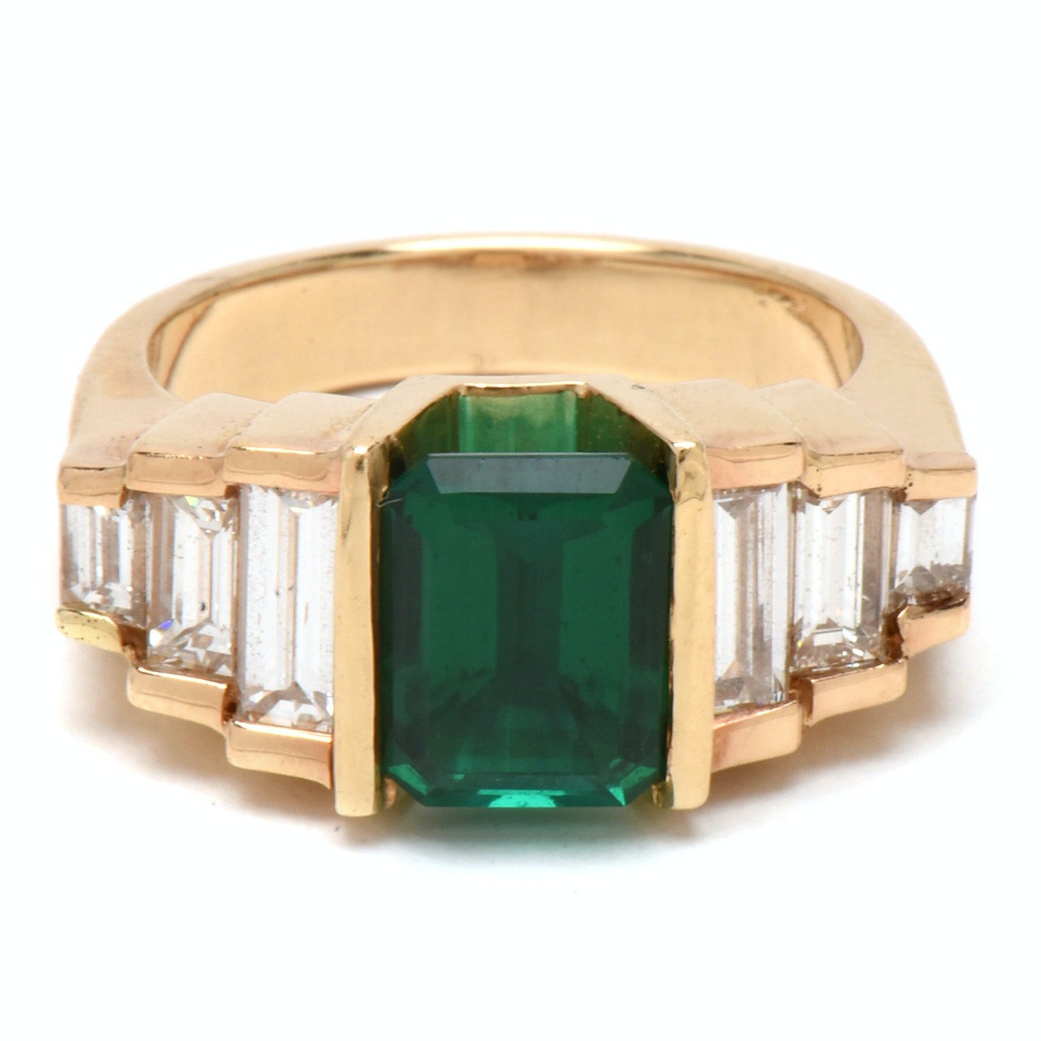 14K Yellow Gold Synthetic Emerald and 1.75 CTW Diamond Ring