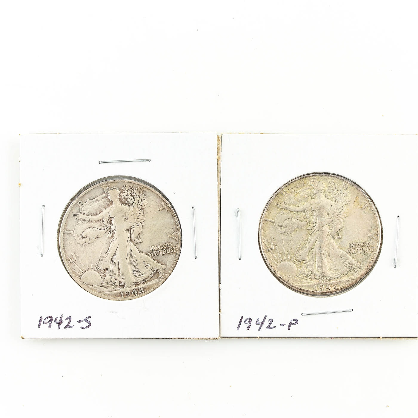 1942 and 1942-S Walking Liberty Half Dollar