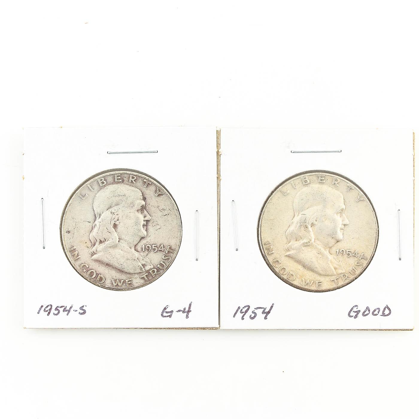 1954 and 1954-S Franklin Half Dollar