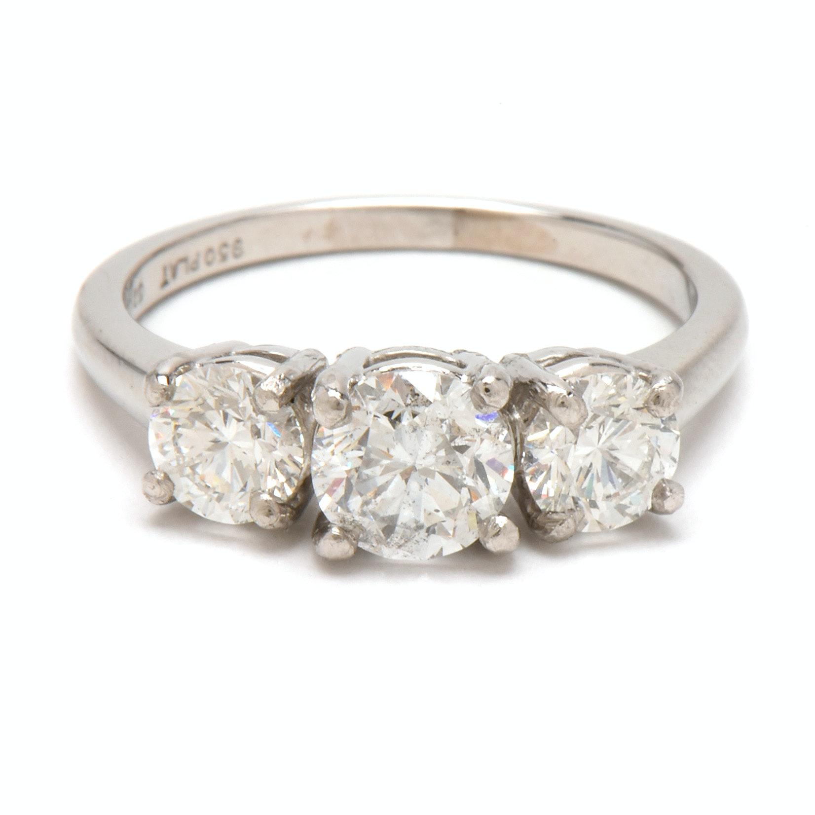 Platinum 2.05 CTW Three Diamond Engagement Ring