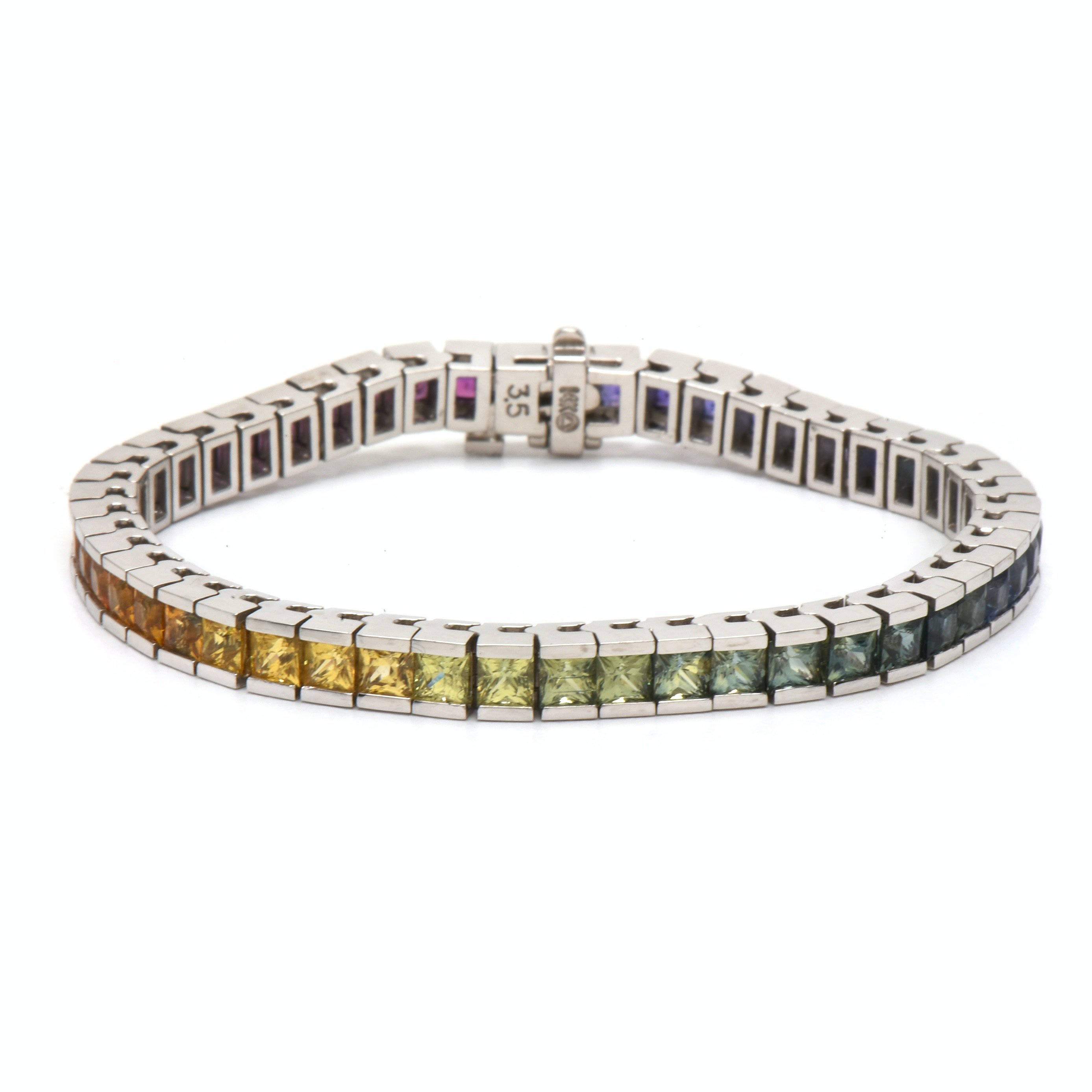 14K White Gold Multiple Color Sapphire Tennis Bracelet