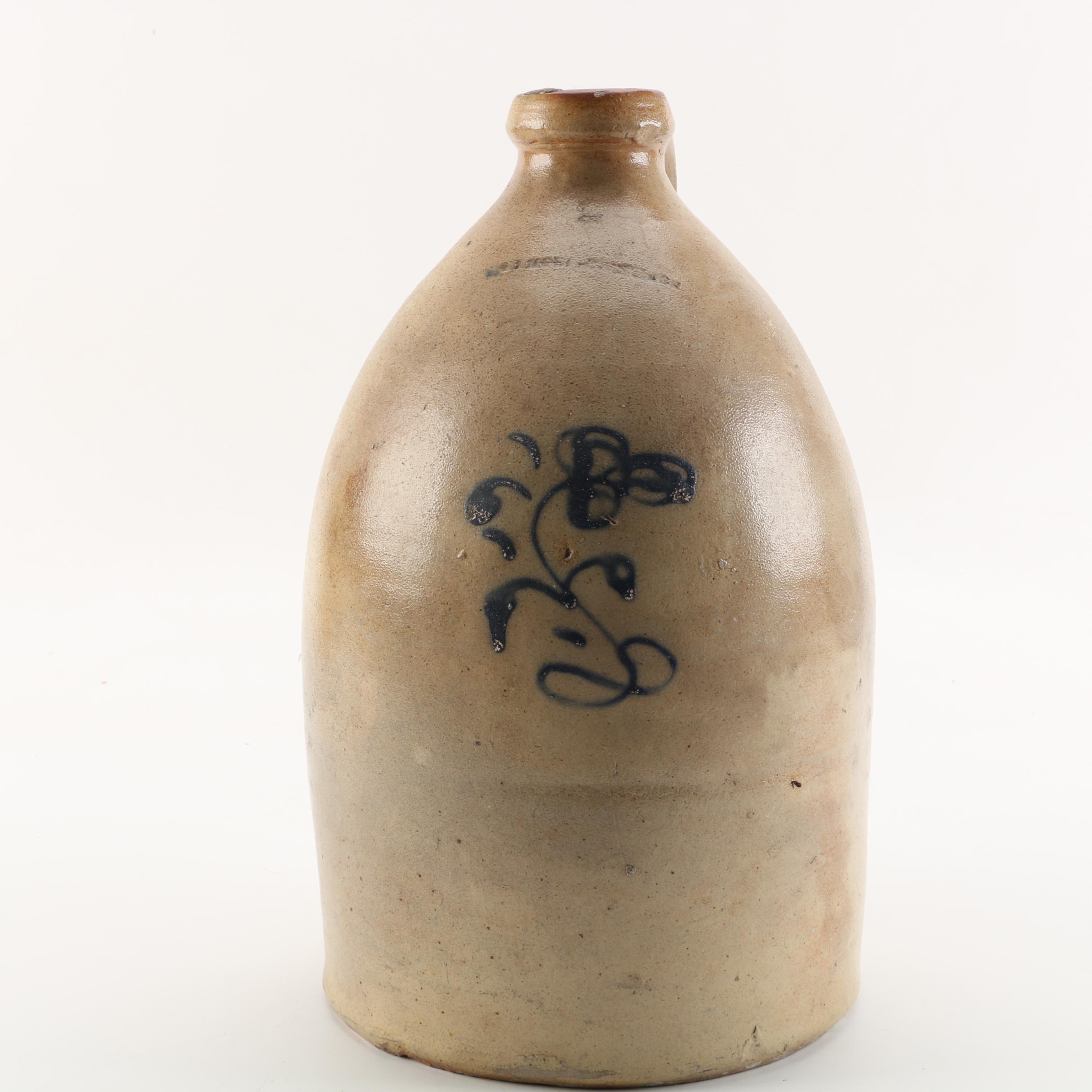 Antique Salt Glazed Stoneware Jug with Blue Underglaze Decoration